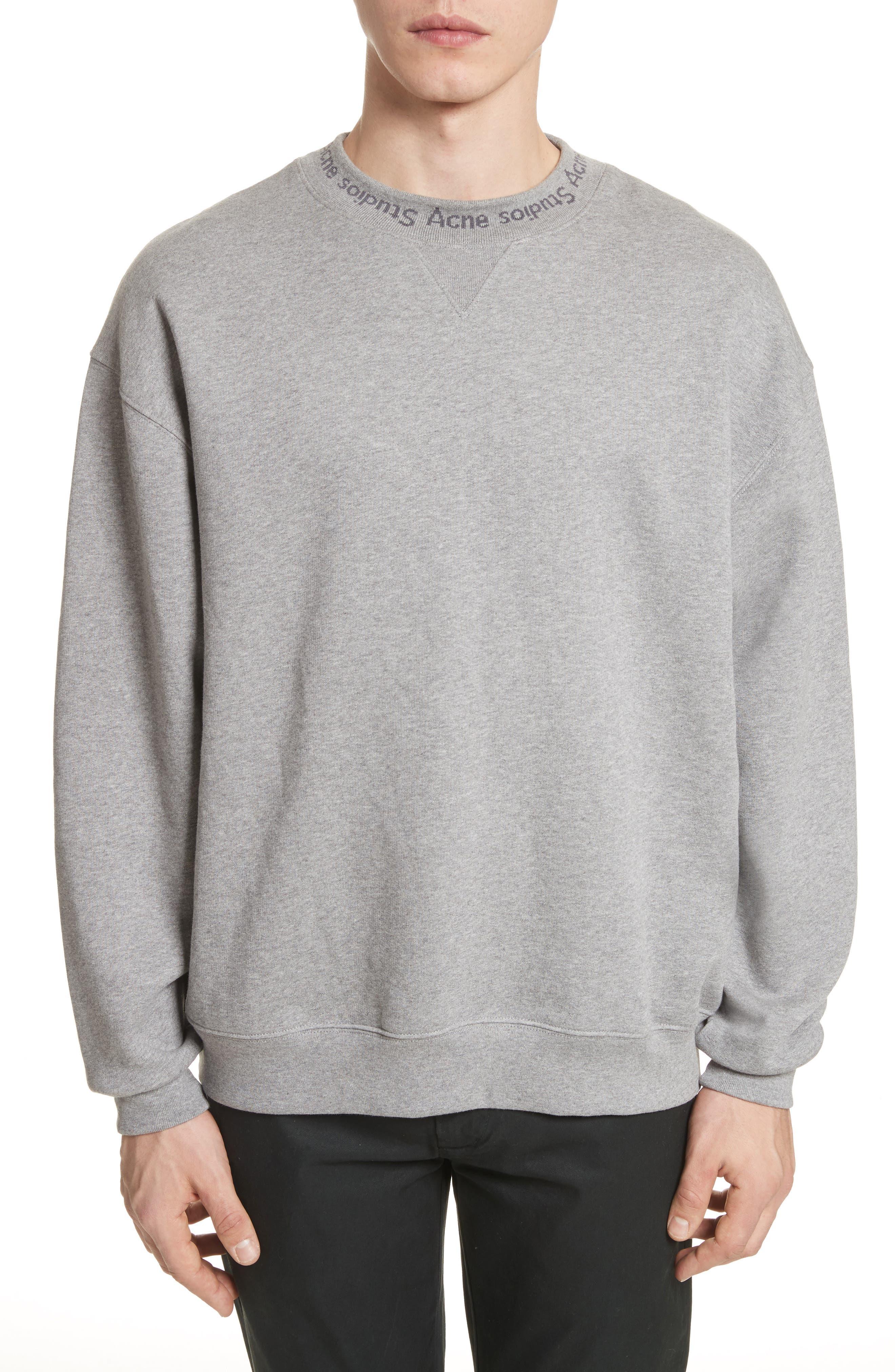 Flogo Oversize Cotton Sweatshirt,                         Main,                         color, LIGHT GREY MELANGE