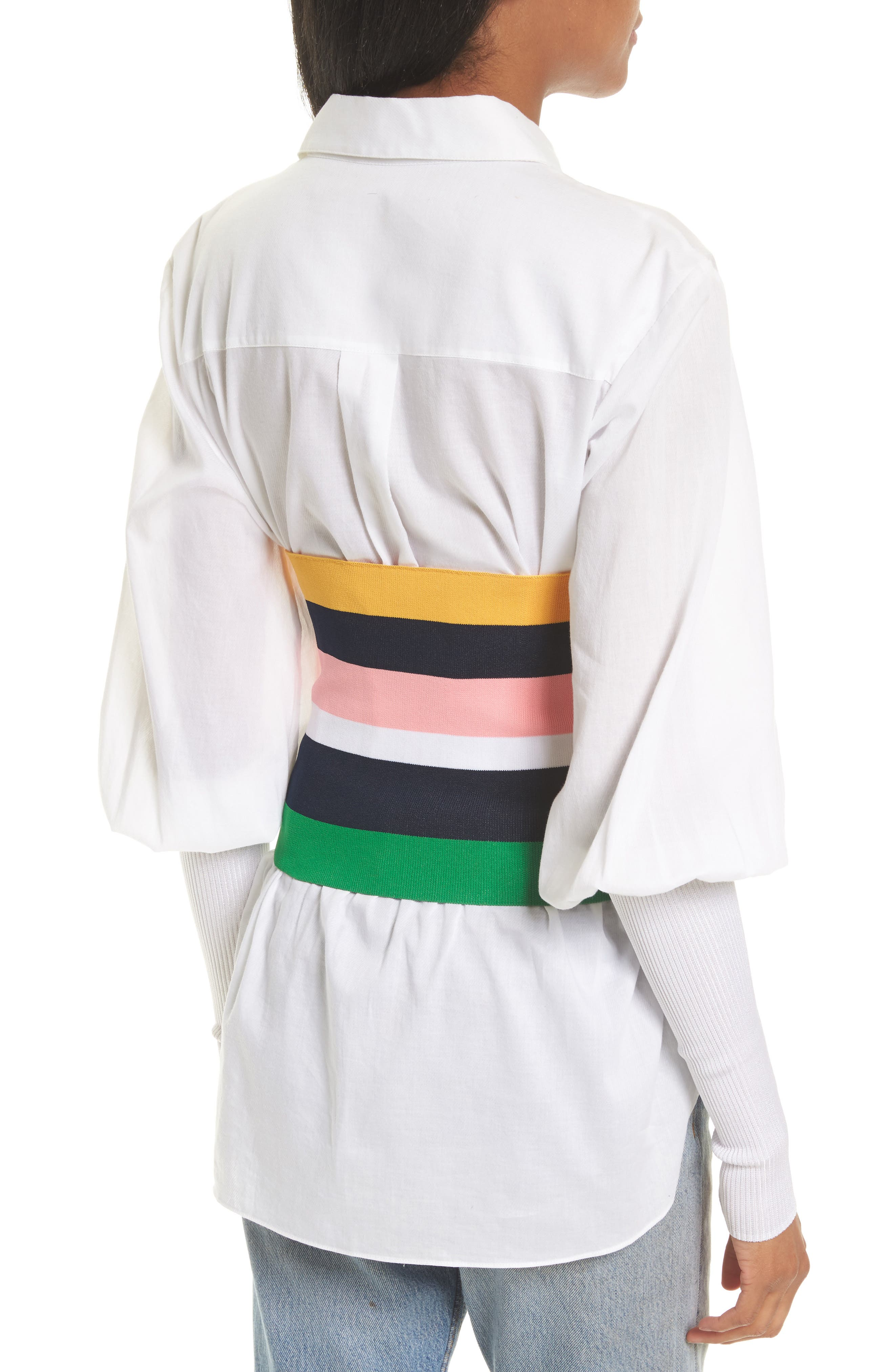 Rib Knit Stripe Tube Corset,                             Alternate thumbnail 2, color,                             001