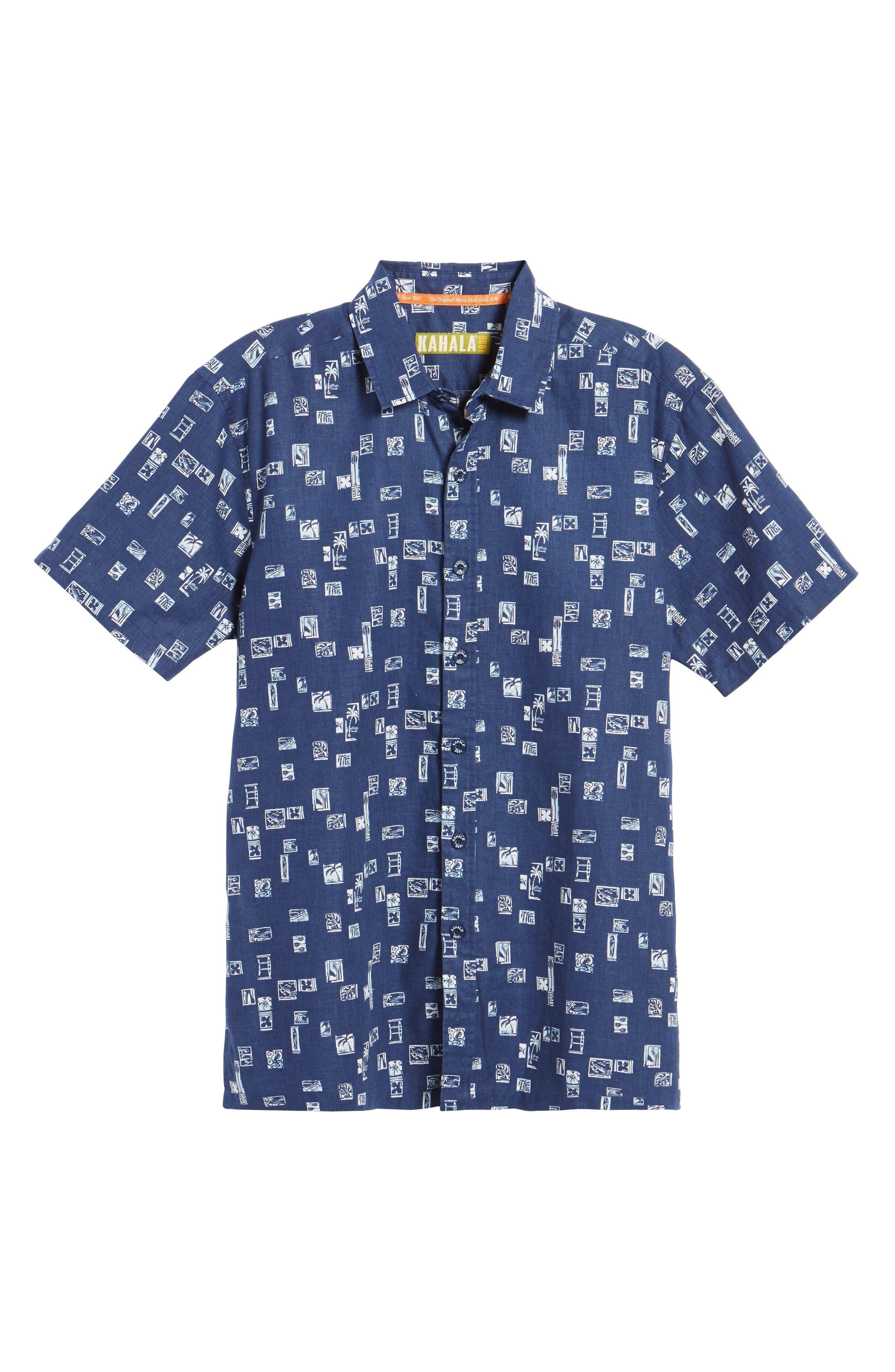 Beach Party Trim Fit Print Sport Shirt,                             Alternate thumbnail 6, color,                             415