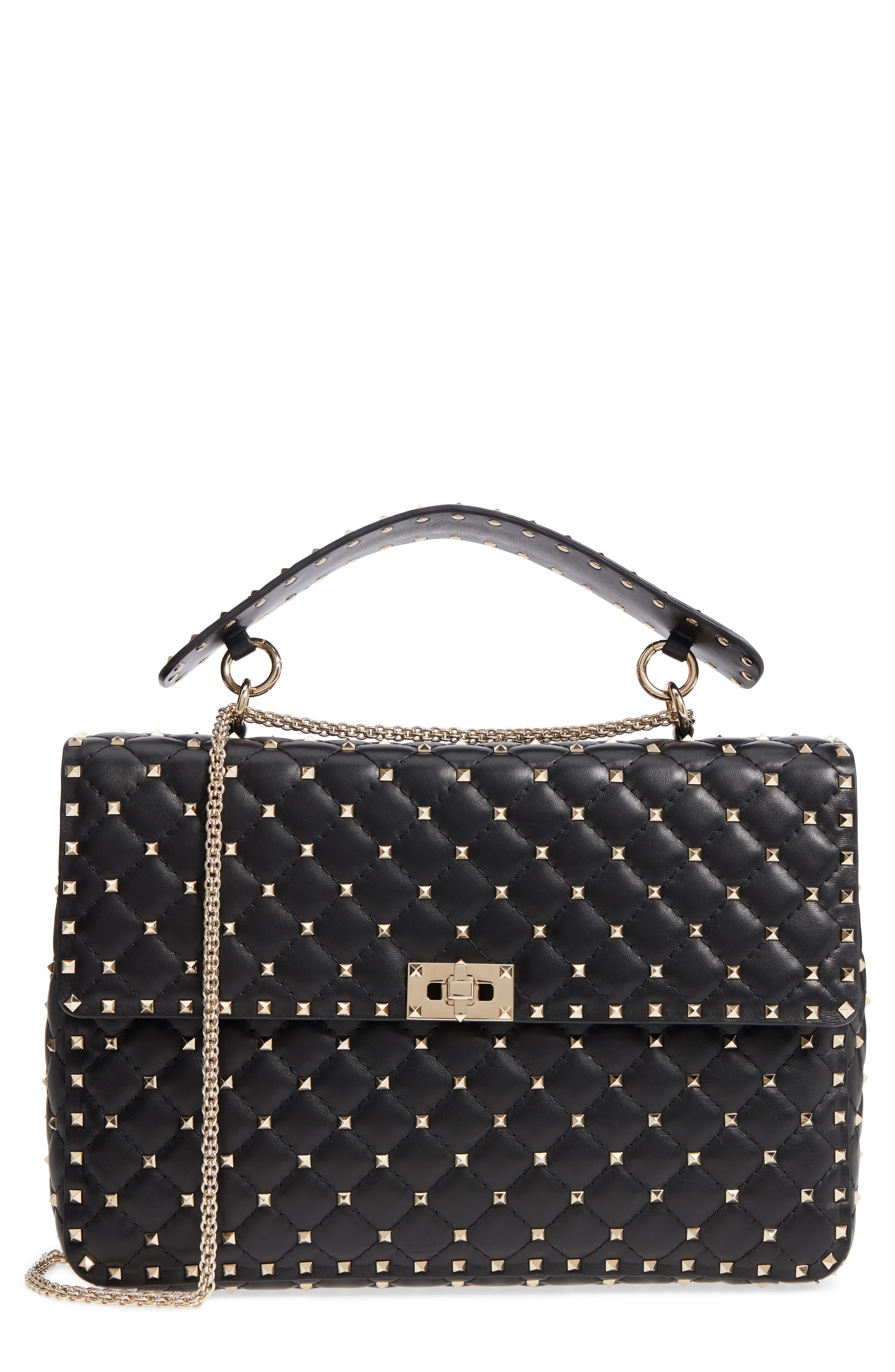 Rockstud Spike Maxi Shoulder Bag,                         Main,                         color, BLACK