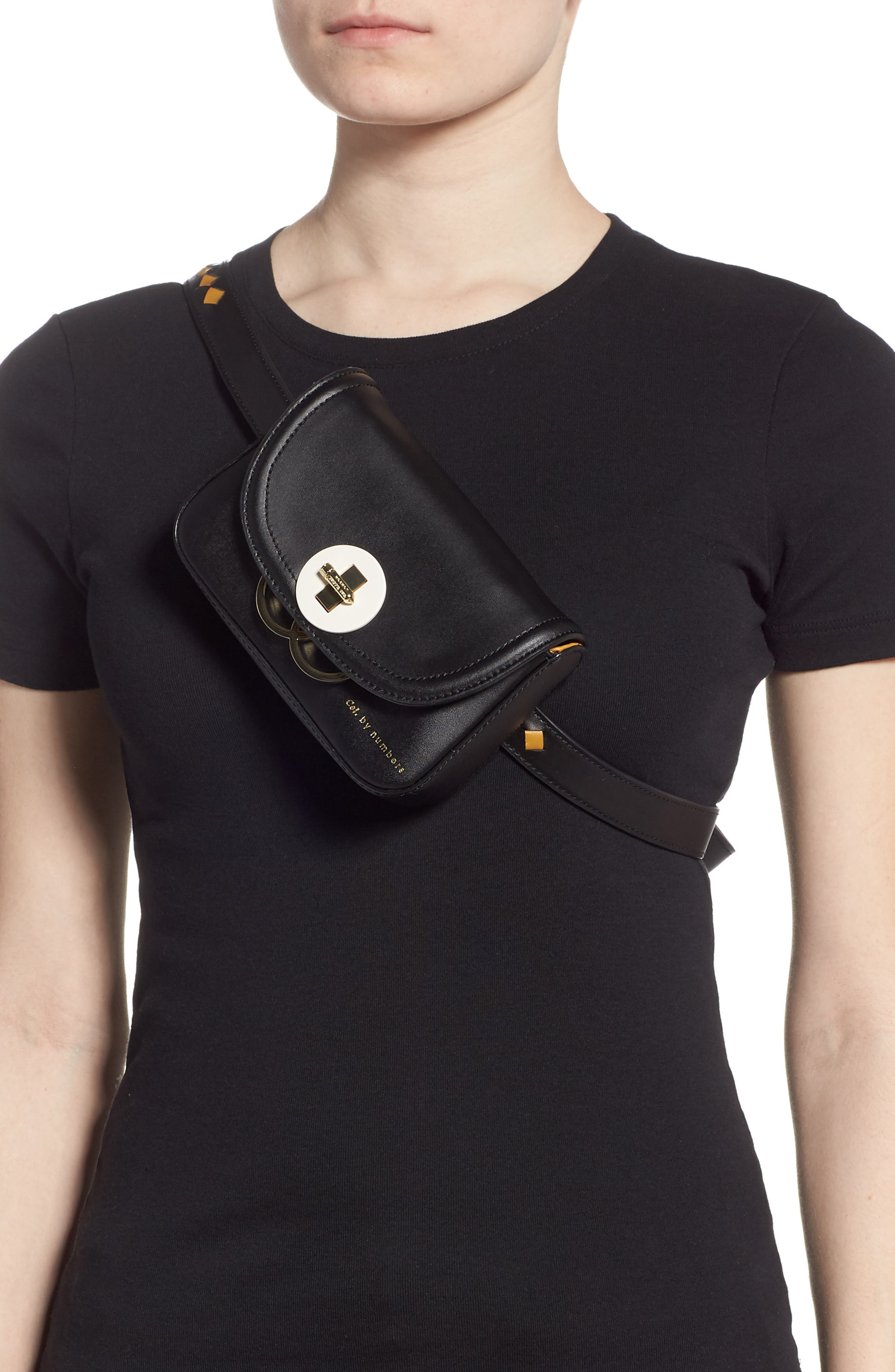 TED BAKER LONDON,                             Colour by Numbers Krakan Leather Belt Bag,                             Alternate thumbnail 4, color,                             BLACK