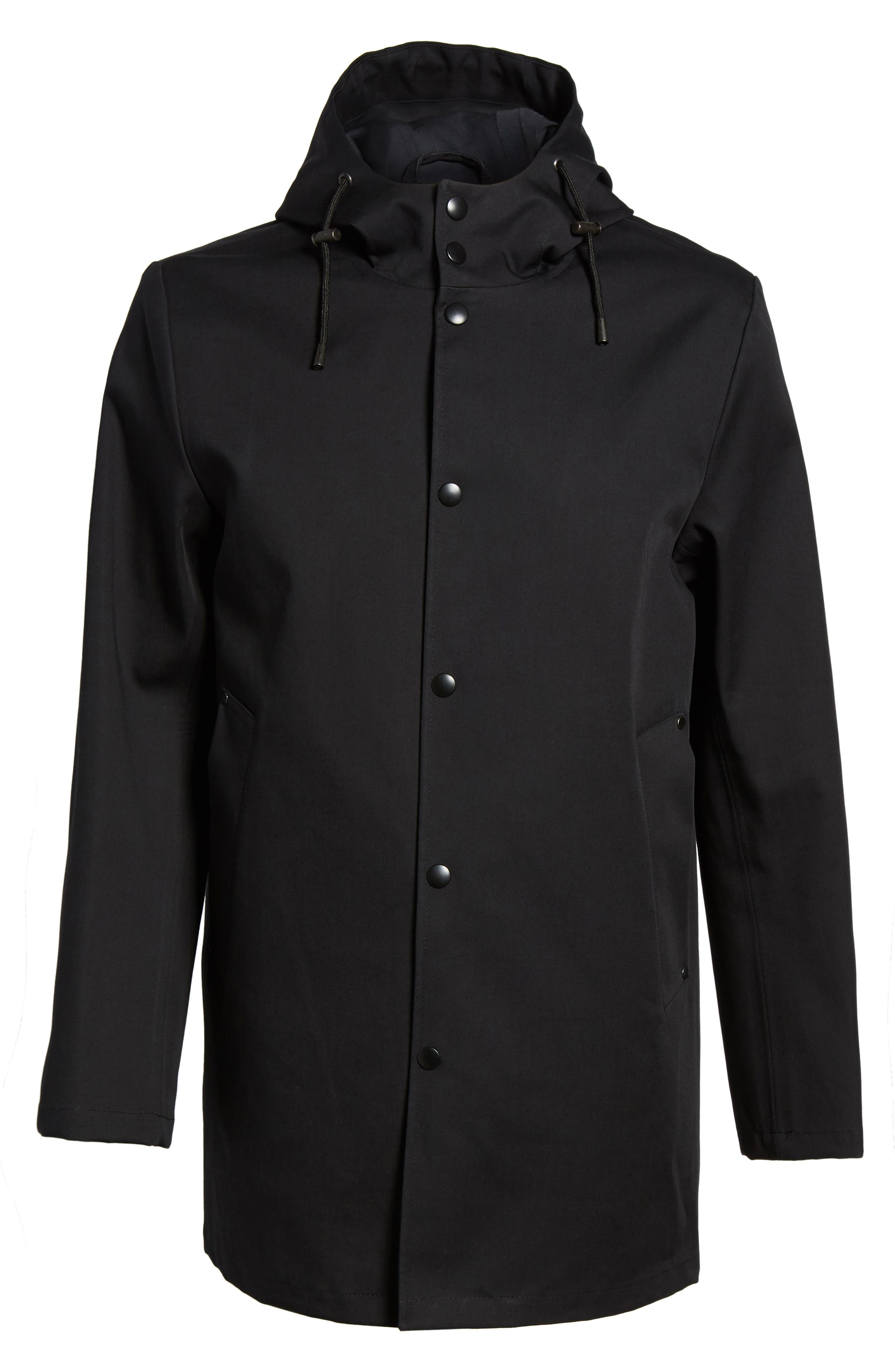 Stockholm Bonded Waterproof Hooded Raincoat,                             Alternate thumbnail 5, color,                             001