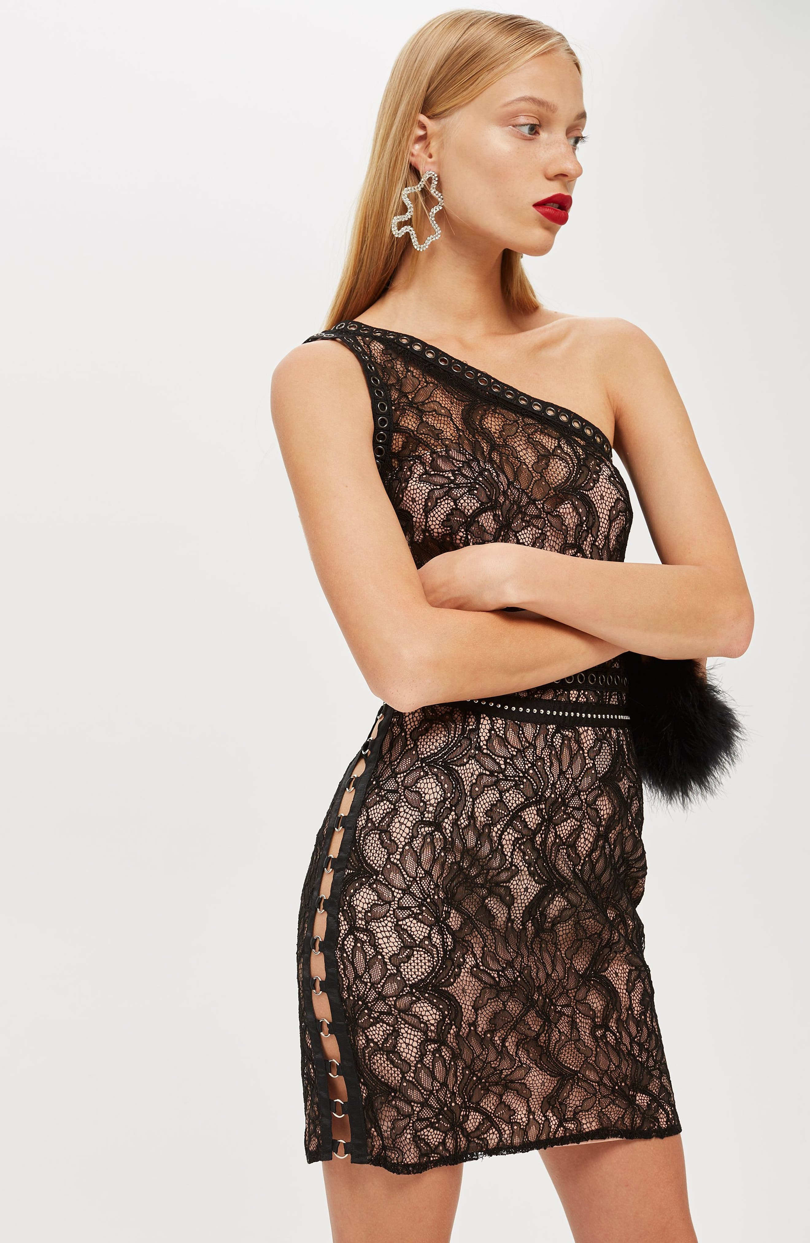 One-Shoulder Lace Body-Con Dress,                             Alternate thumbnail 6, color,                             BLACK MULTI