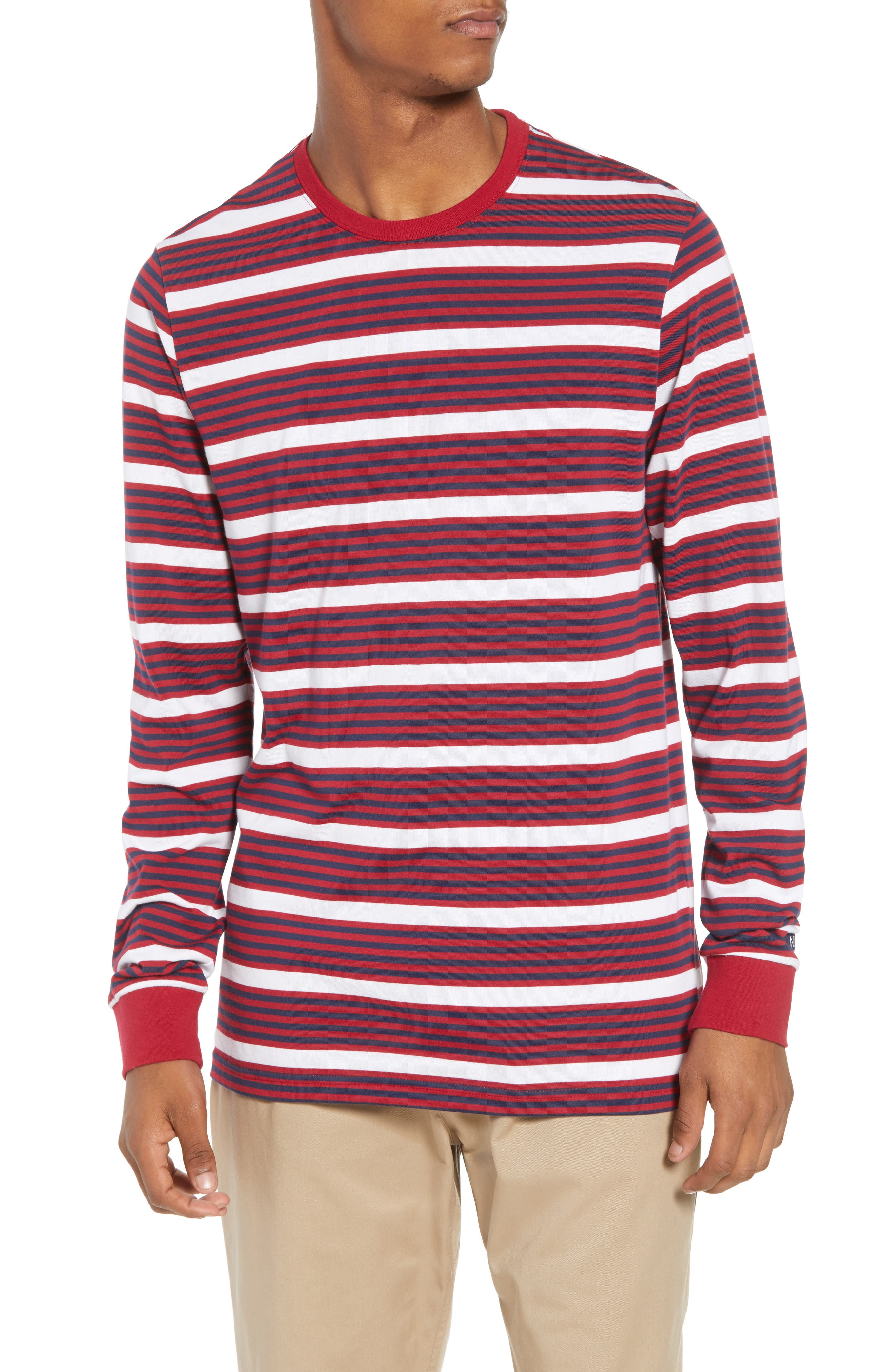Dry Stripe Long Sleeve T-Shirt,                         Main,                         color, RED CRUSH/ OBSIDIAN