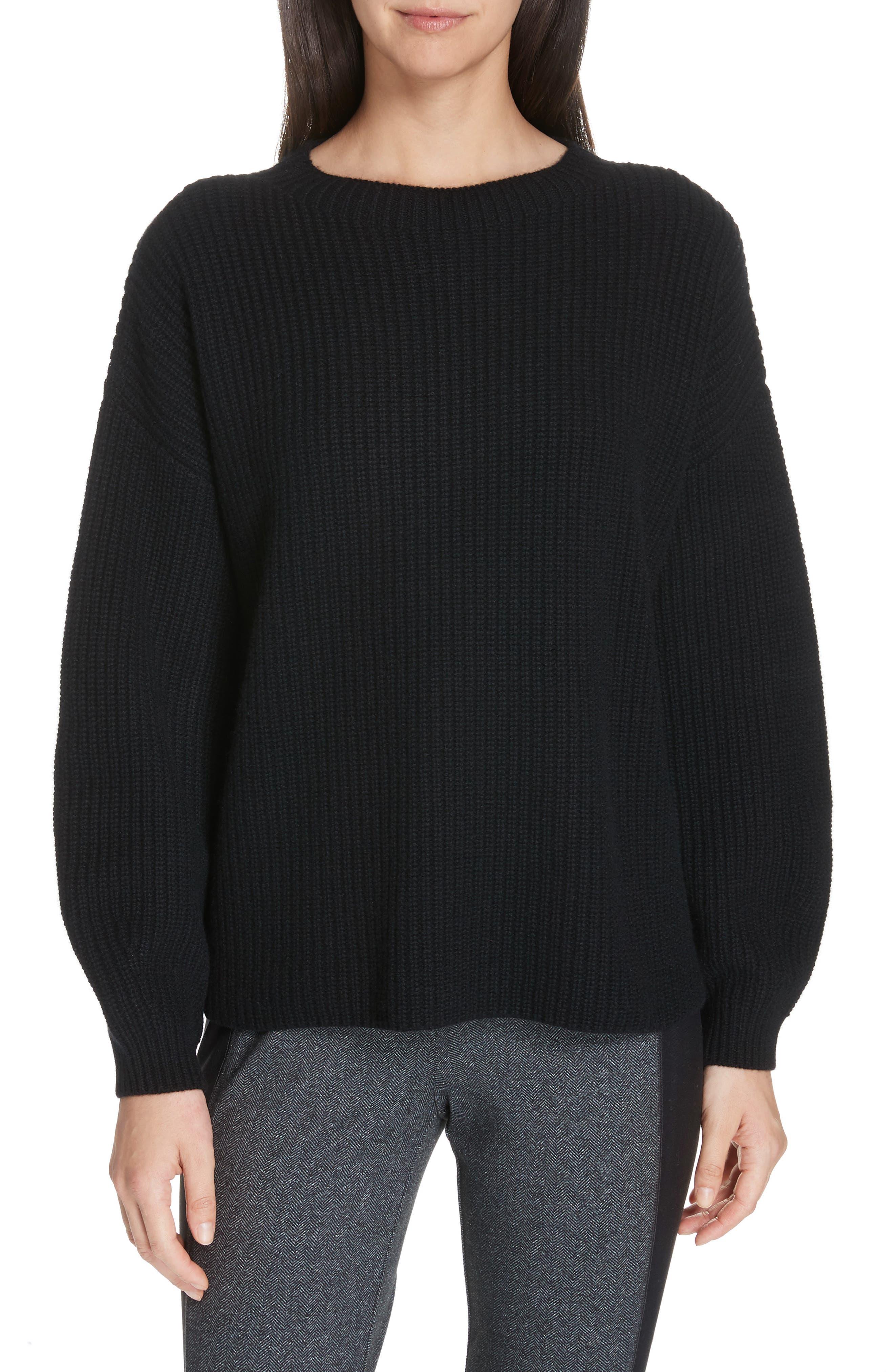 Crewneck Shaker Cashmere Sweater,                             Main thumbnail 1, color,                             BLACK