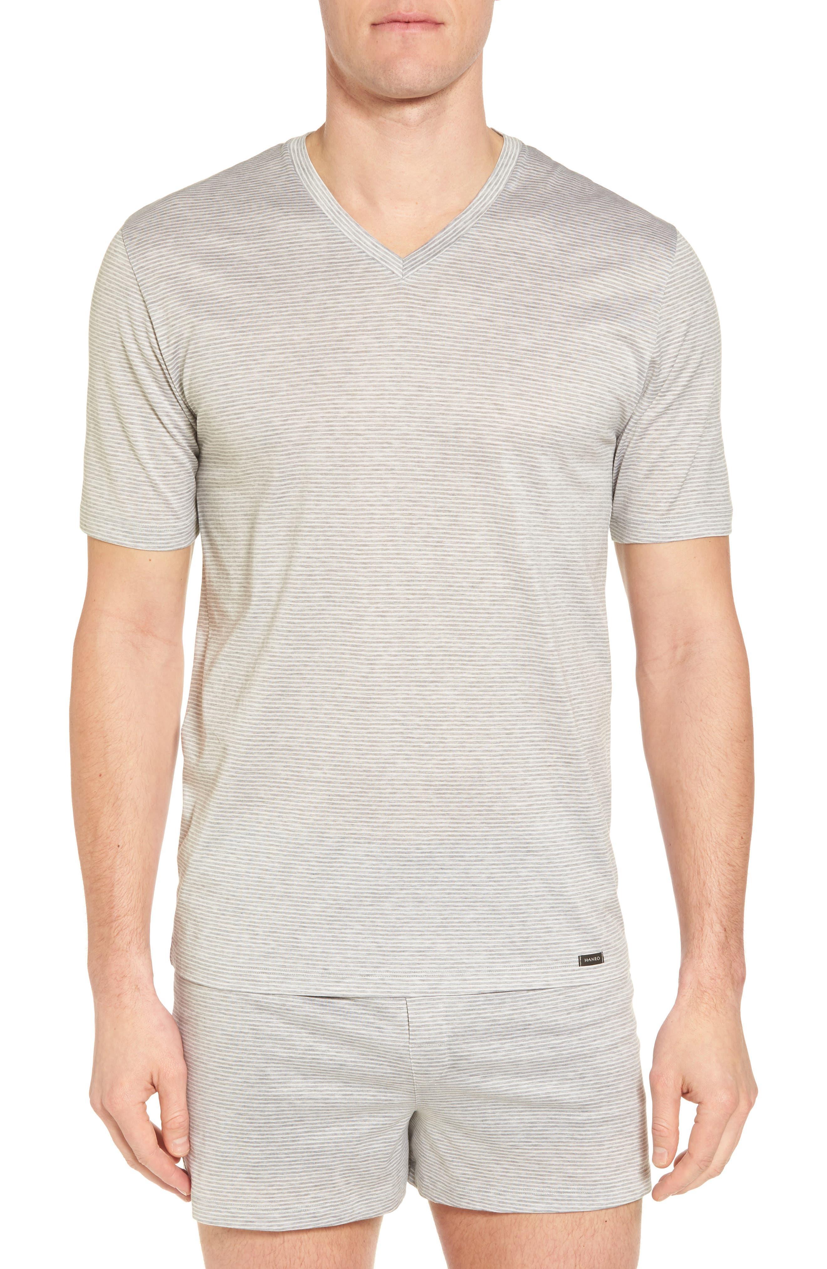 Sporty Stripe Cotton V-Neck T-Shirt,                             Main thumbnail 1, color,                             MELANGE STRIPE