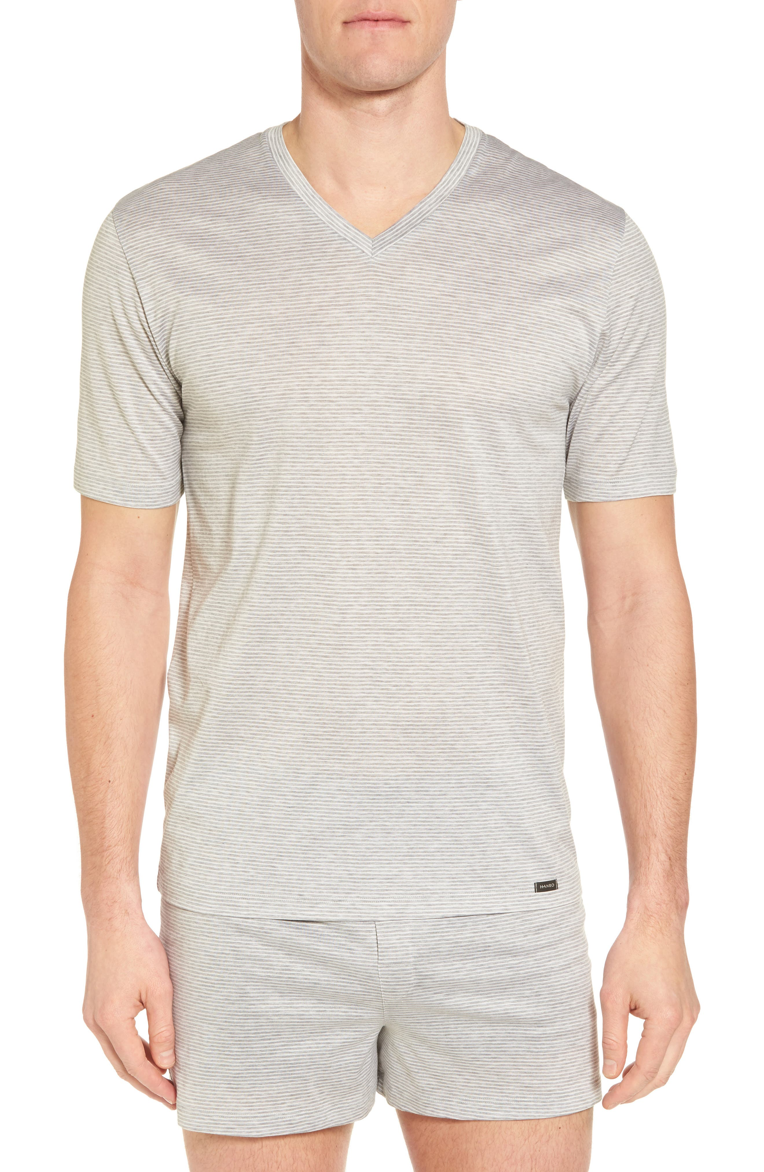 Sporty Stripe Cotton V-Neck T-Shirt,                         Main,                         color, MELANGE STRIPE