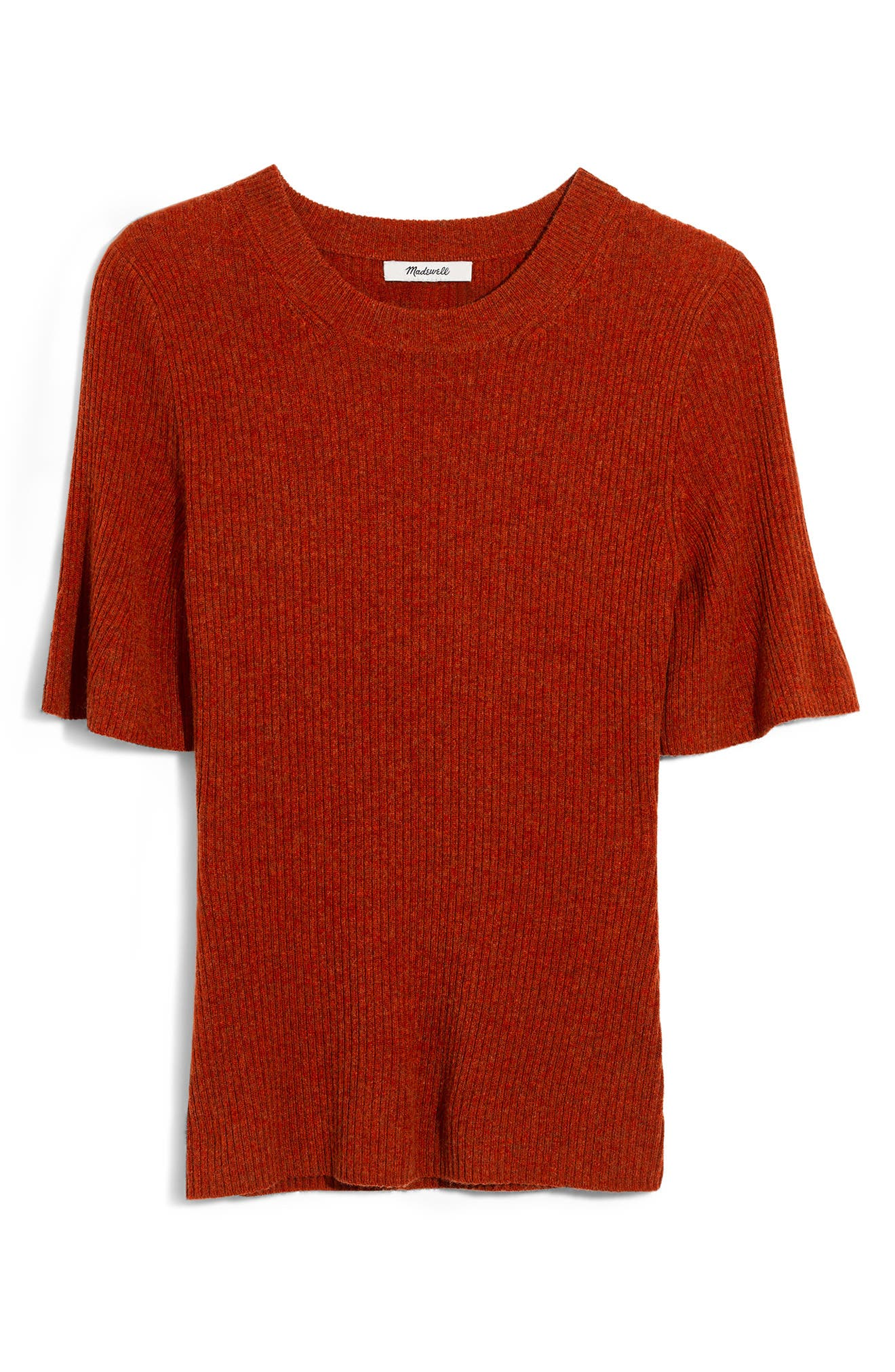 Flounce Sleeve Ribbed Sweater Tee,                             Alternate thumbnail 5, color,                             HEATHER PUMPKIN