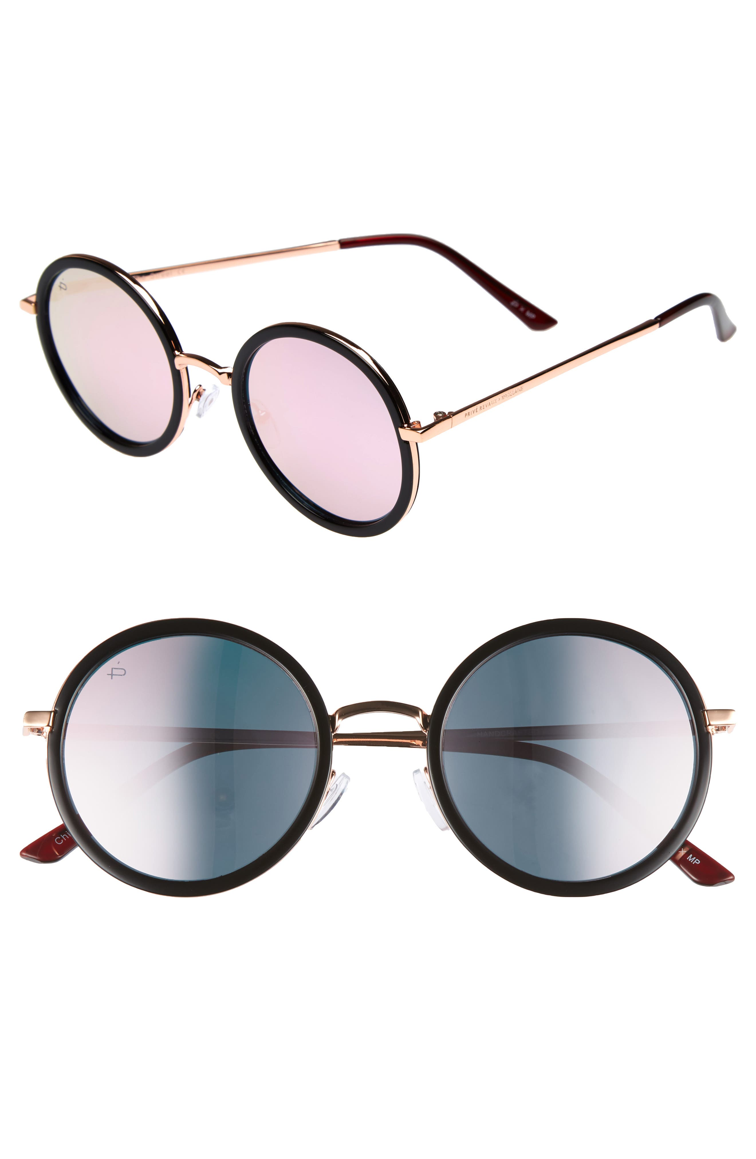 Privé Revaux x Madelaine Petsch The Street 53mm Round Sunglasses,                         Main,                         color, 001