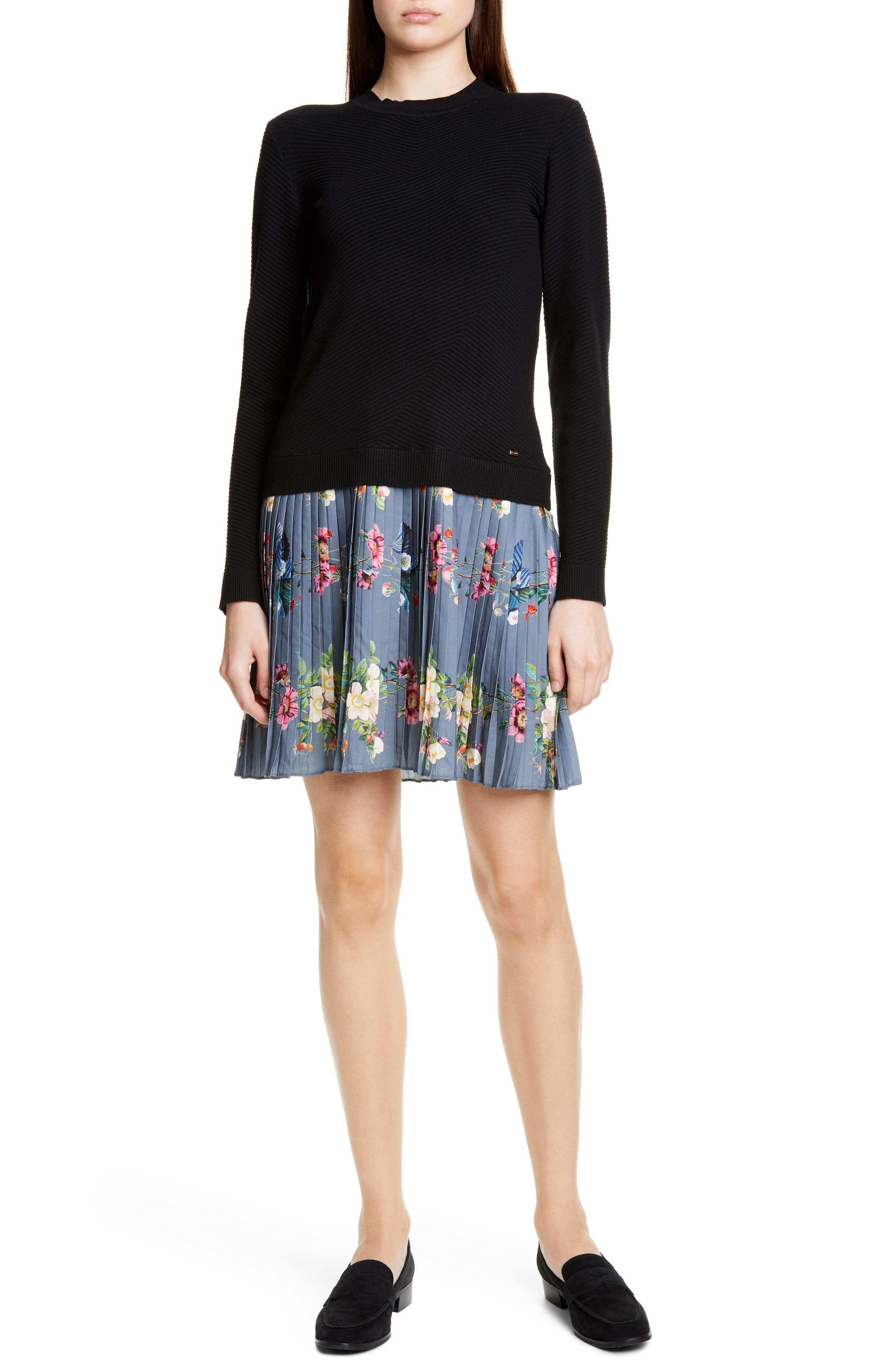 Ted Baker London Izitaa Oracle Long Sleeve Pleat Skirt Dress, Black