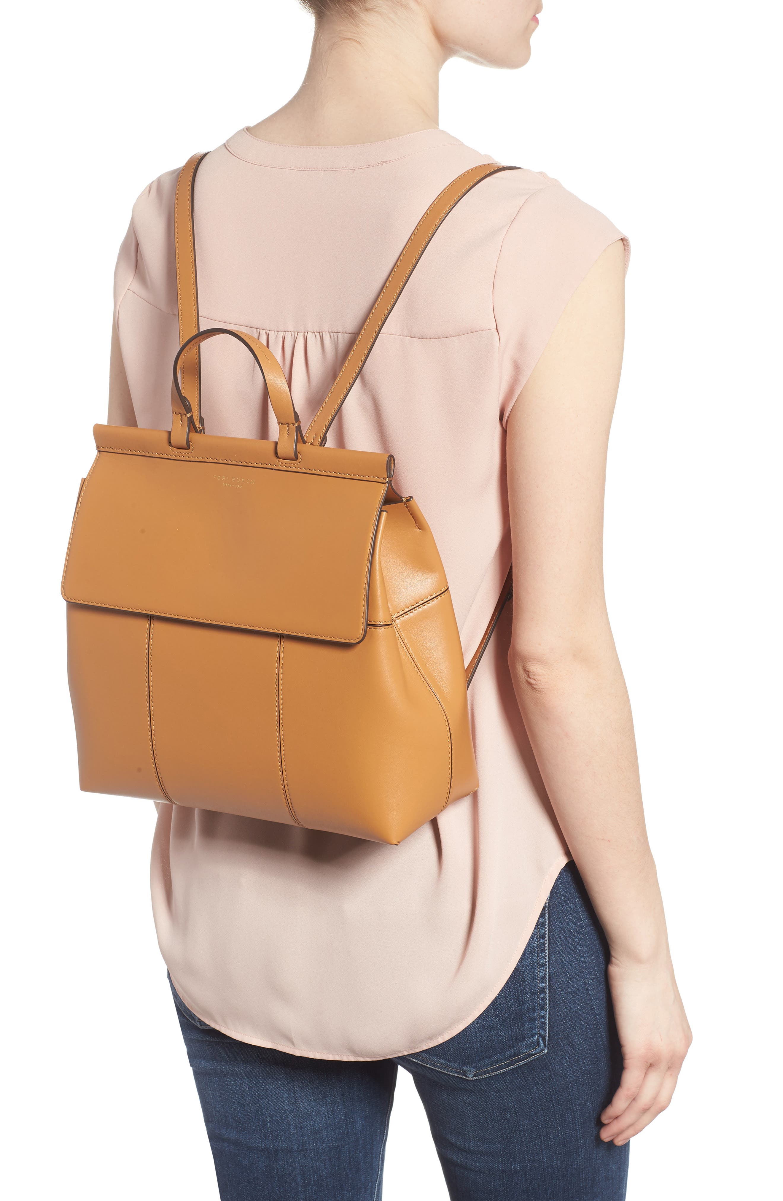 Block T Leather Backpack,                             Alternate thumbnail 2, color,                             BRITISH TAN / BRITISH TAN