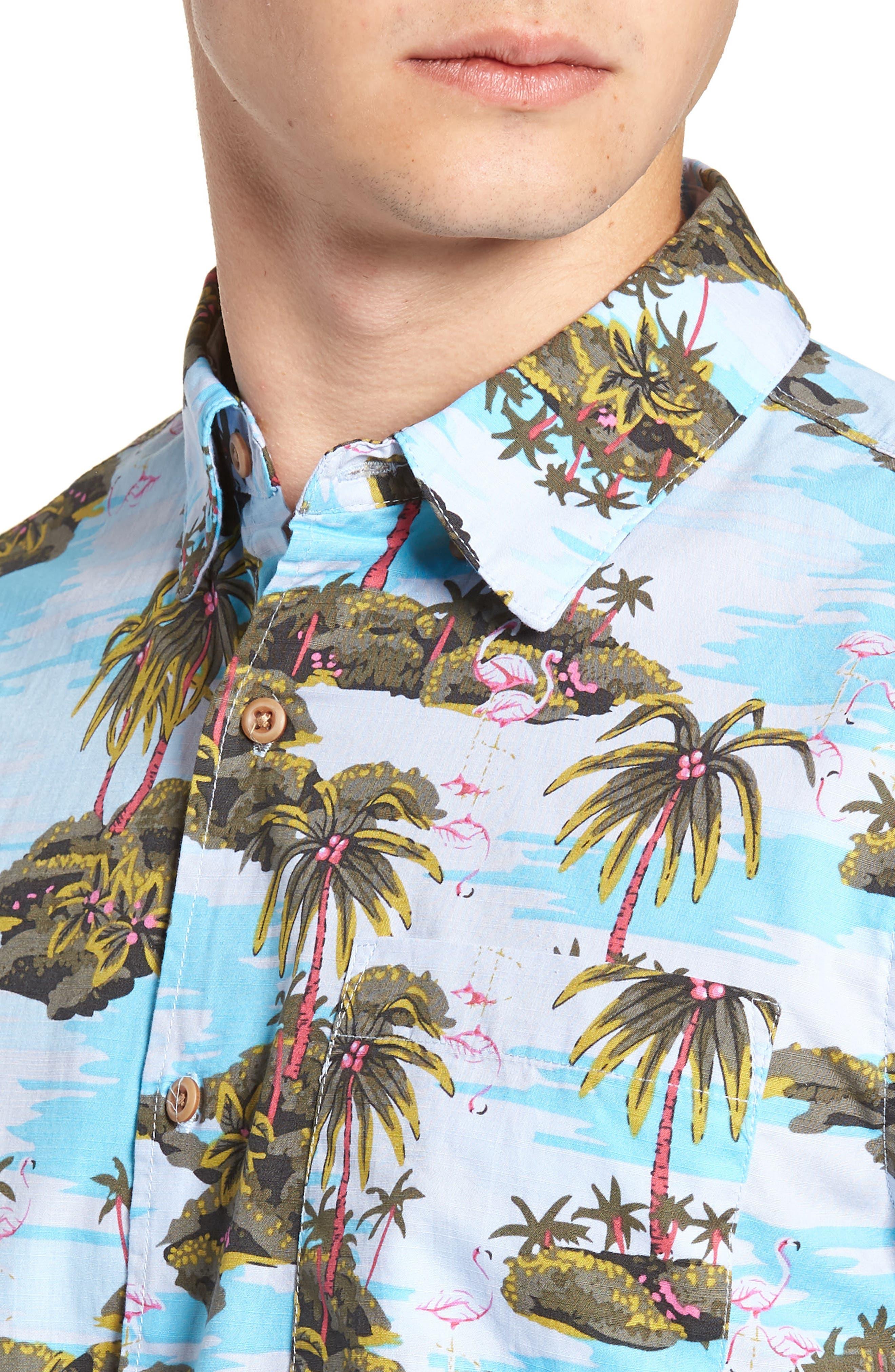 Garage Palm Tree Woven Shirt,                             Alternate thumbnail 2, color,                             OCEAN BLISS