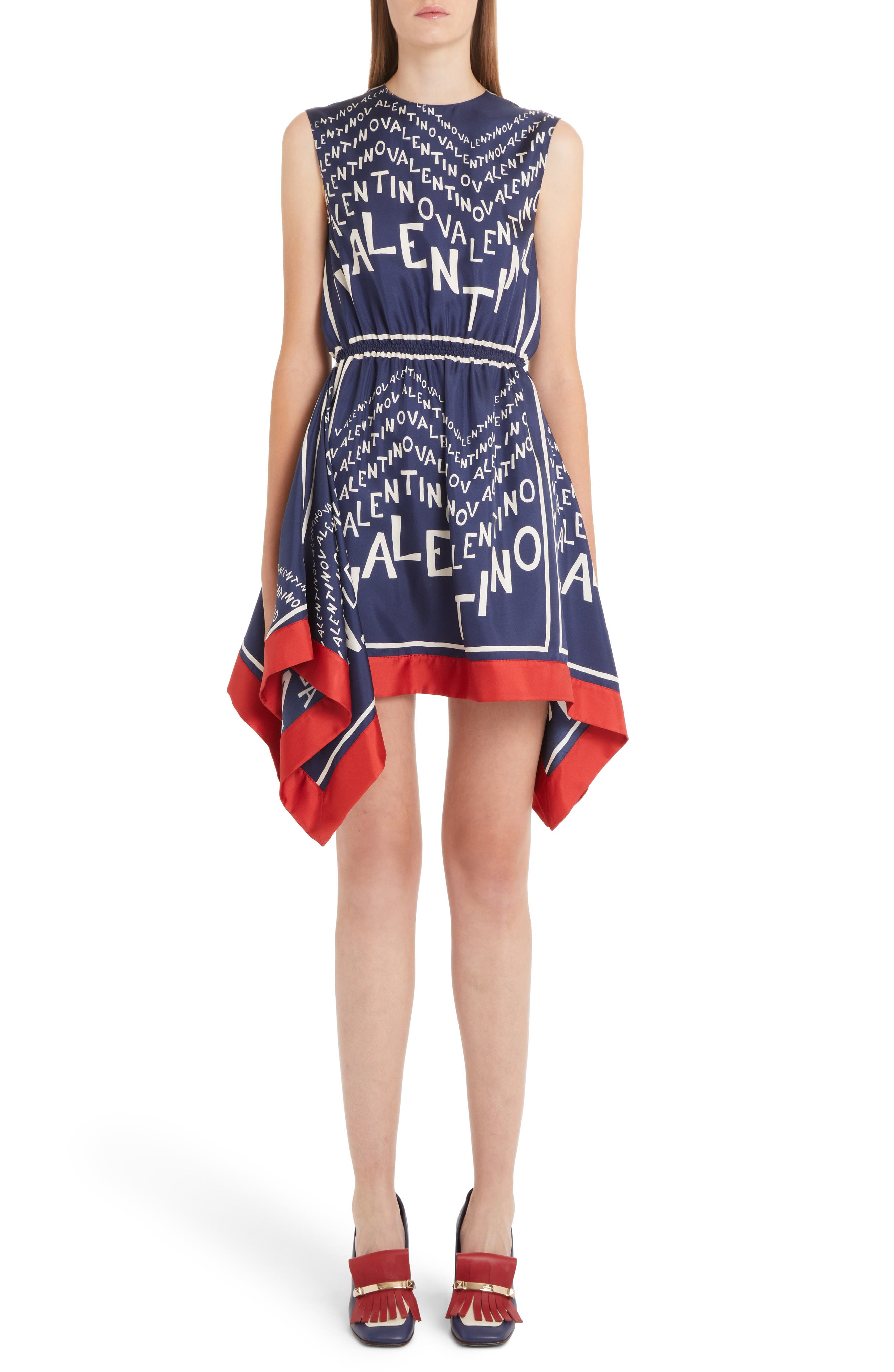 Sleeveless Logo Puzzle-Print Silk Twill Dress W/ Scarf Hem in Almond/ Pure Blue