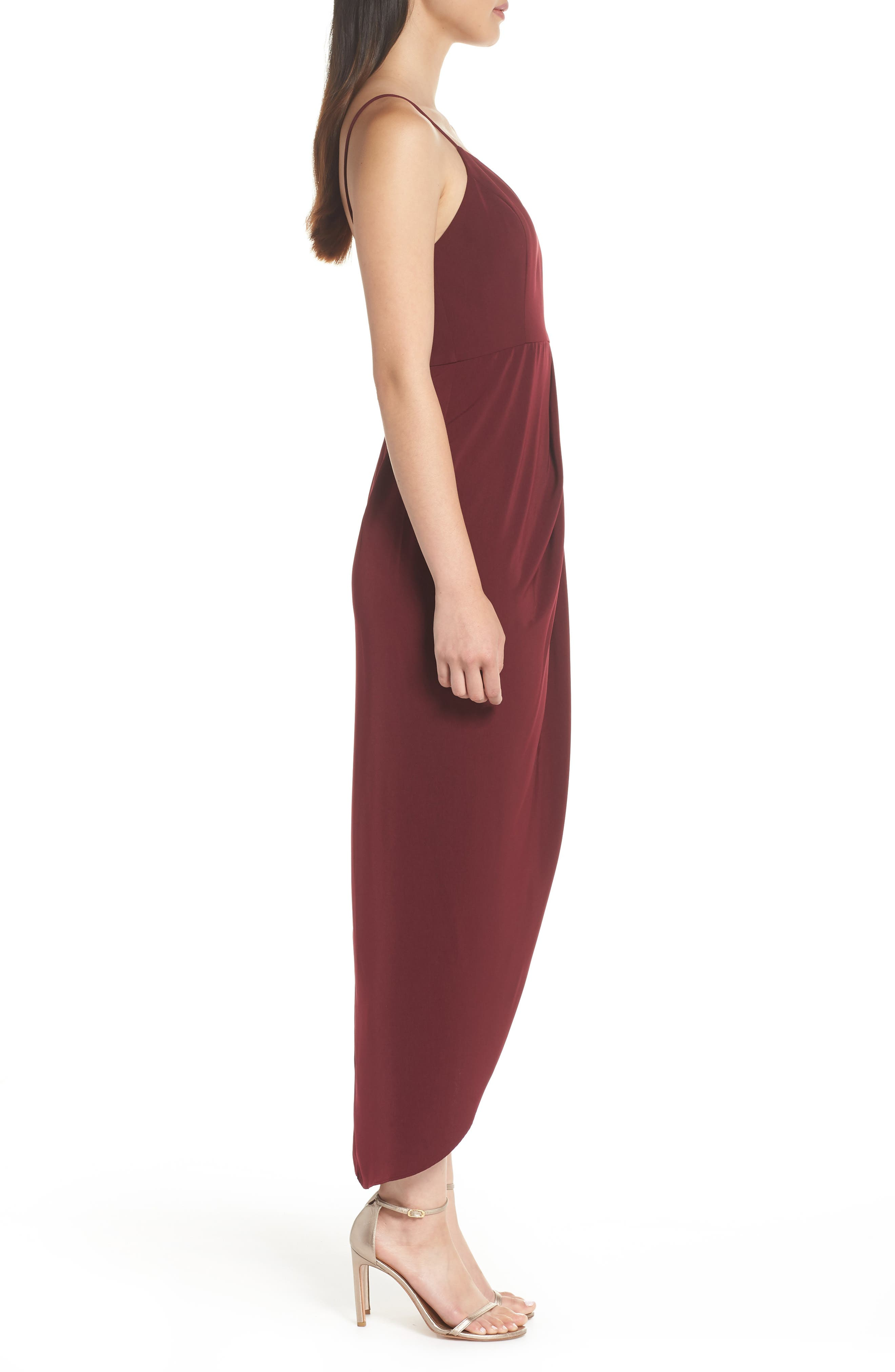 SHONA JOY,                             Tulip Hem Maxi Dress,                             Alternate thumbnail 3, color,                             BURGUNDY