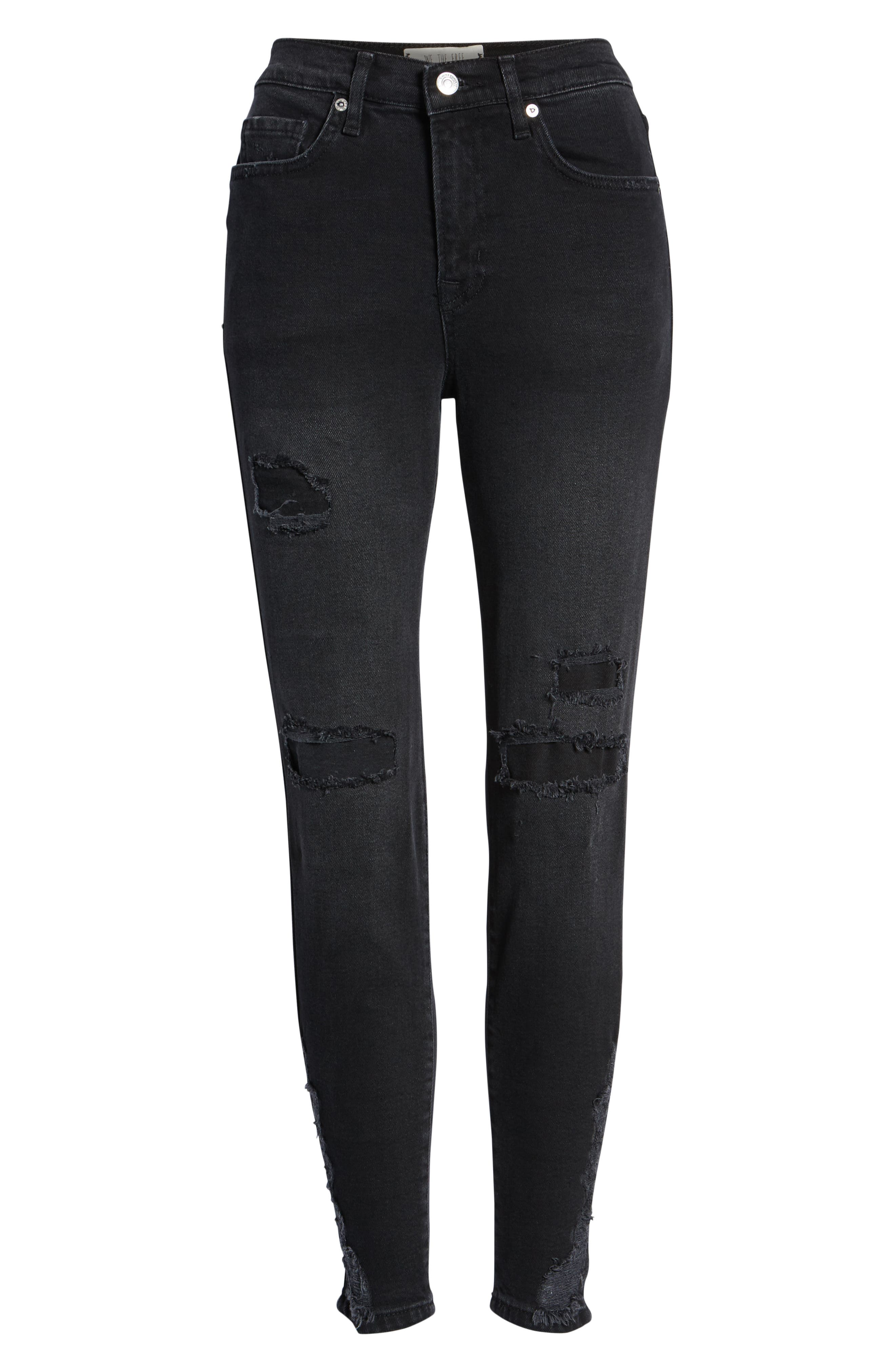 About a Girl Ripped High Waist Crop Skinny Jeans,                             Alternate thumbnail 7, color,                             BLACK