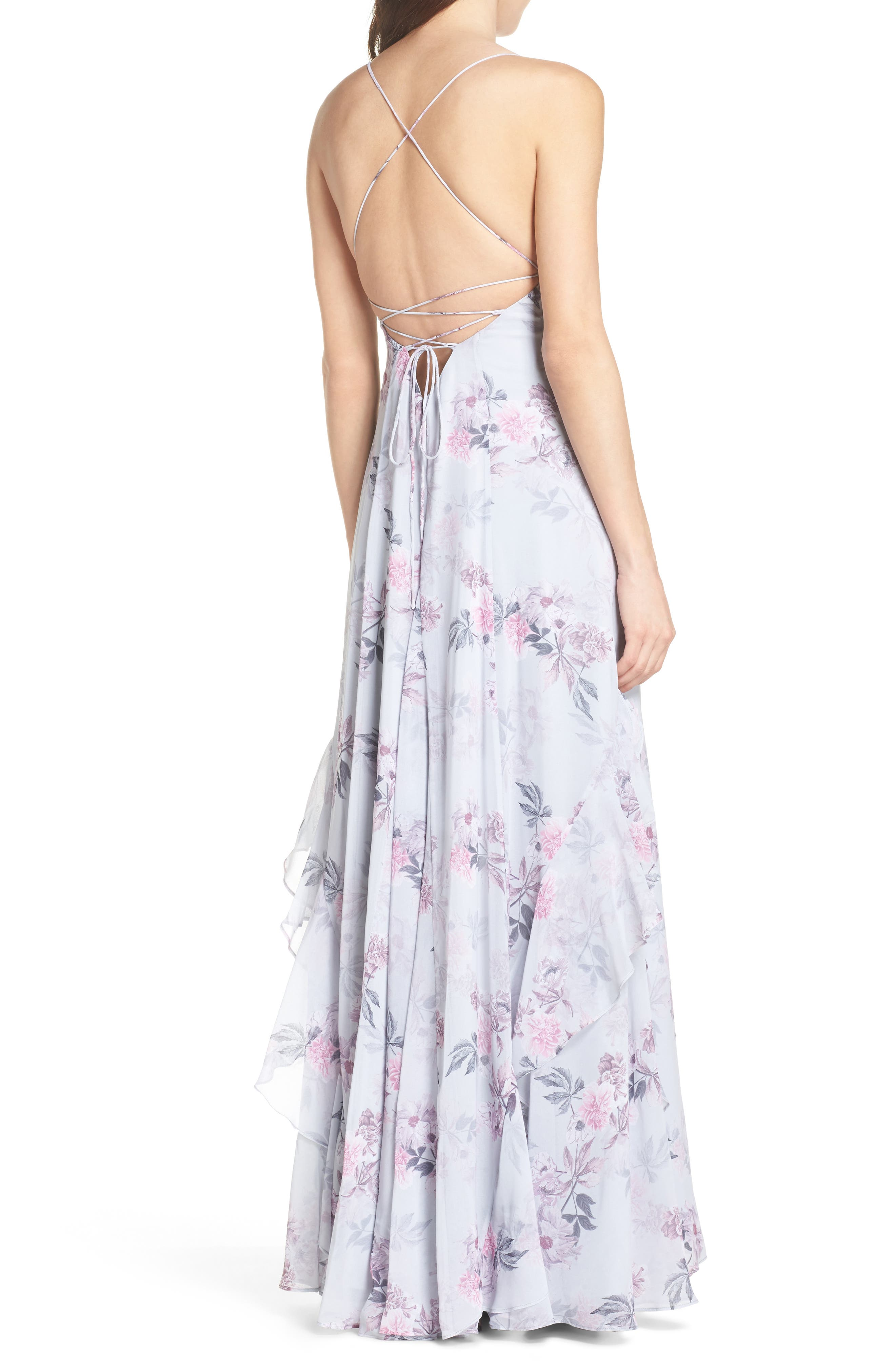 Nav Ruffle Gown,                             Alternate thumbnail 2, color,                             DREAM FLORAL