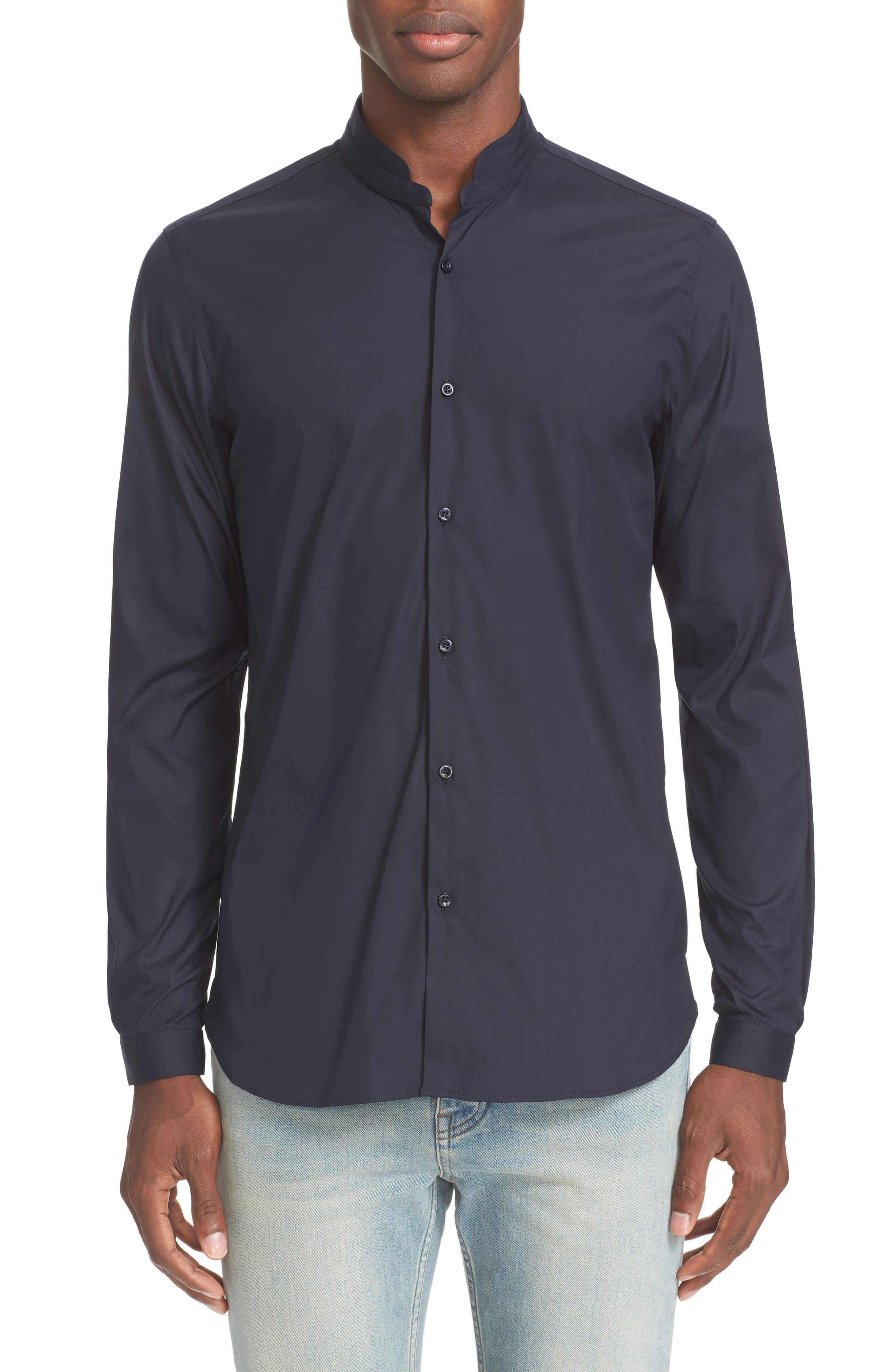 Trim Fit Band Collar Sport Shirt,                         Main,                         color, NAVY