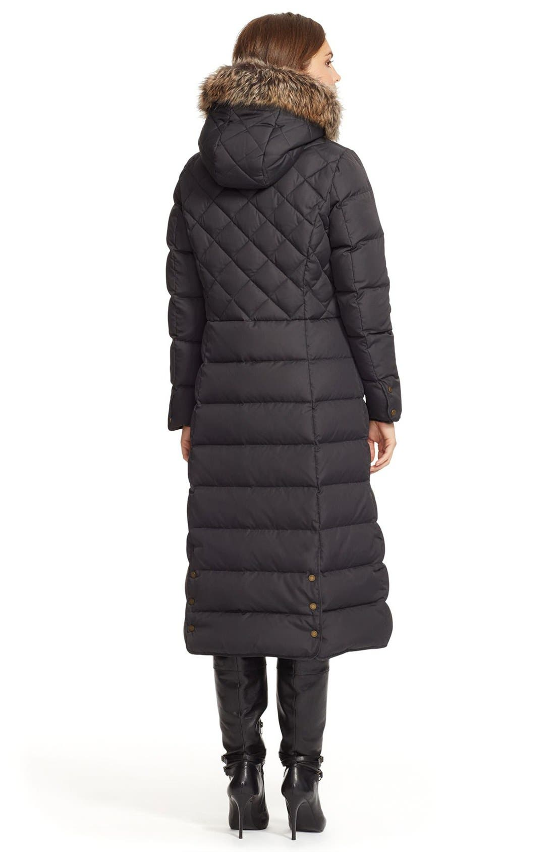 Faux Fur Trim Hooded Long Down & Feather Fill Coat,                             Alternate thumbnail 2, color,                             001