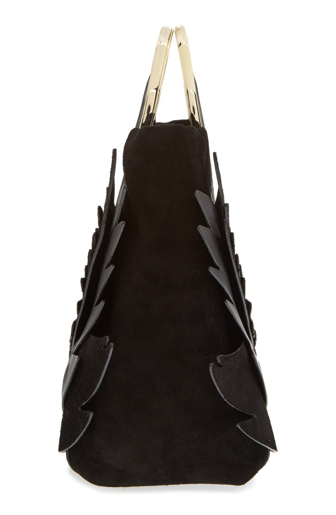 'on pointe - swan' suede & leather handbag,                             Alternate thumbnail 4, color,                             001