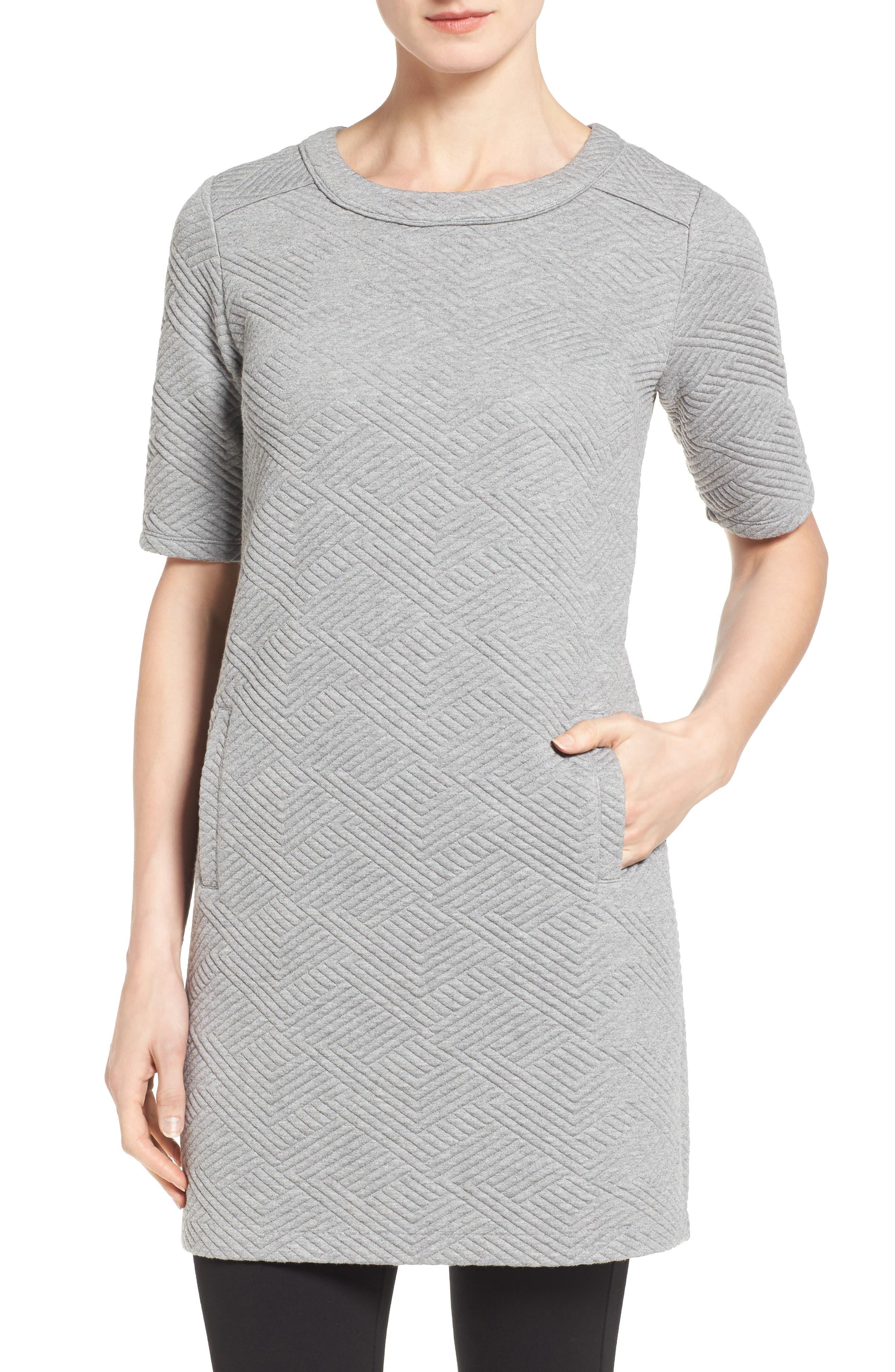 Textured Elbow Sleeve Tunic Dress,                             Main thumbnail 1, color,                             030