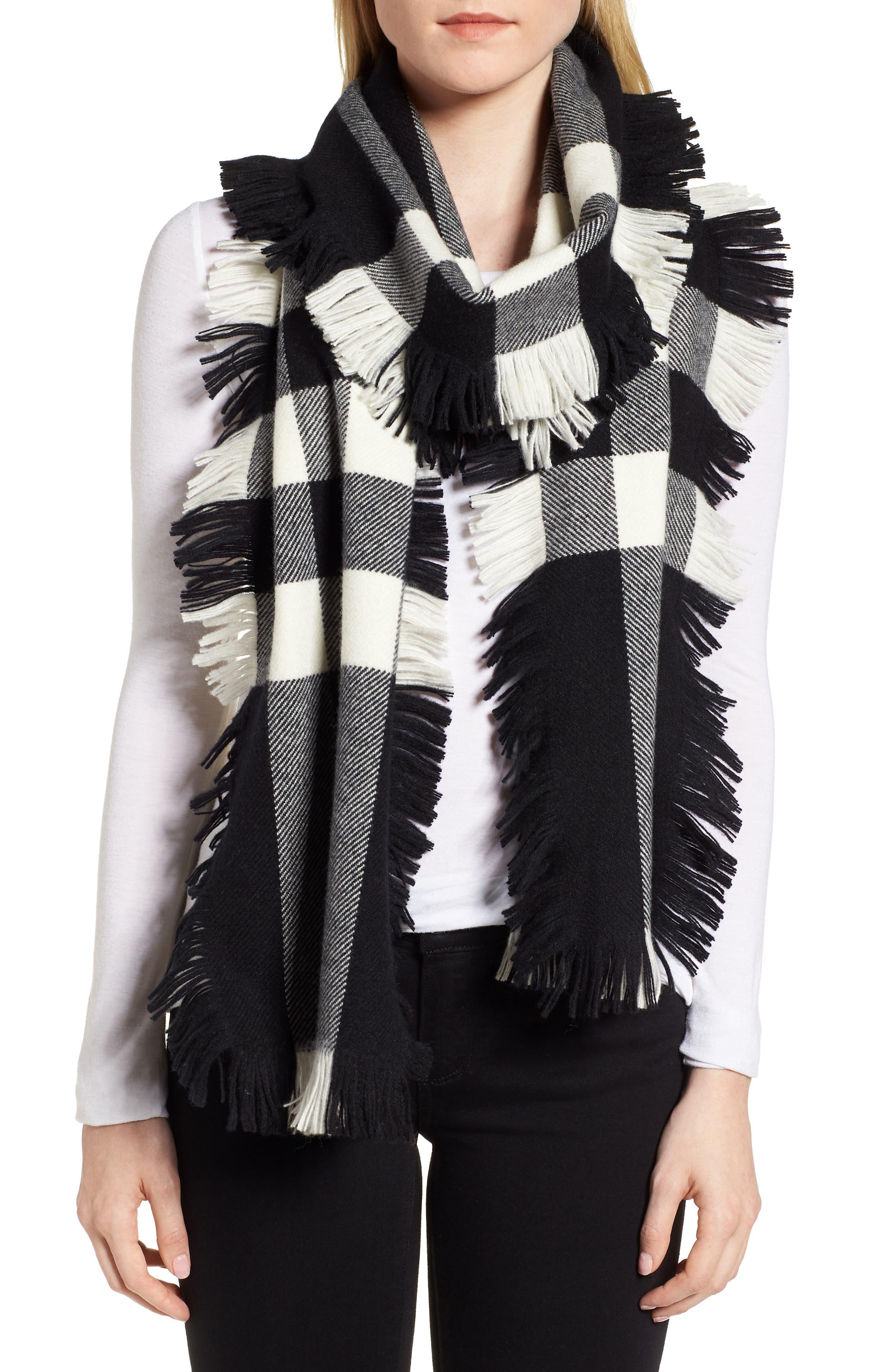 Half Mega Fashion Wool Fringe Scarf,                             Alternate thumbnail 2, color,                             BLACK