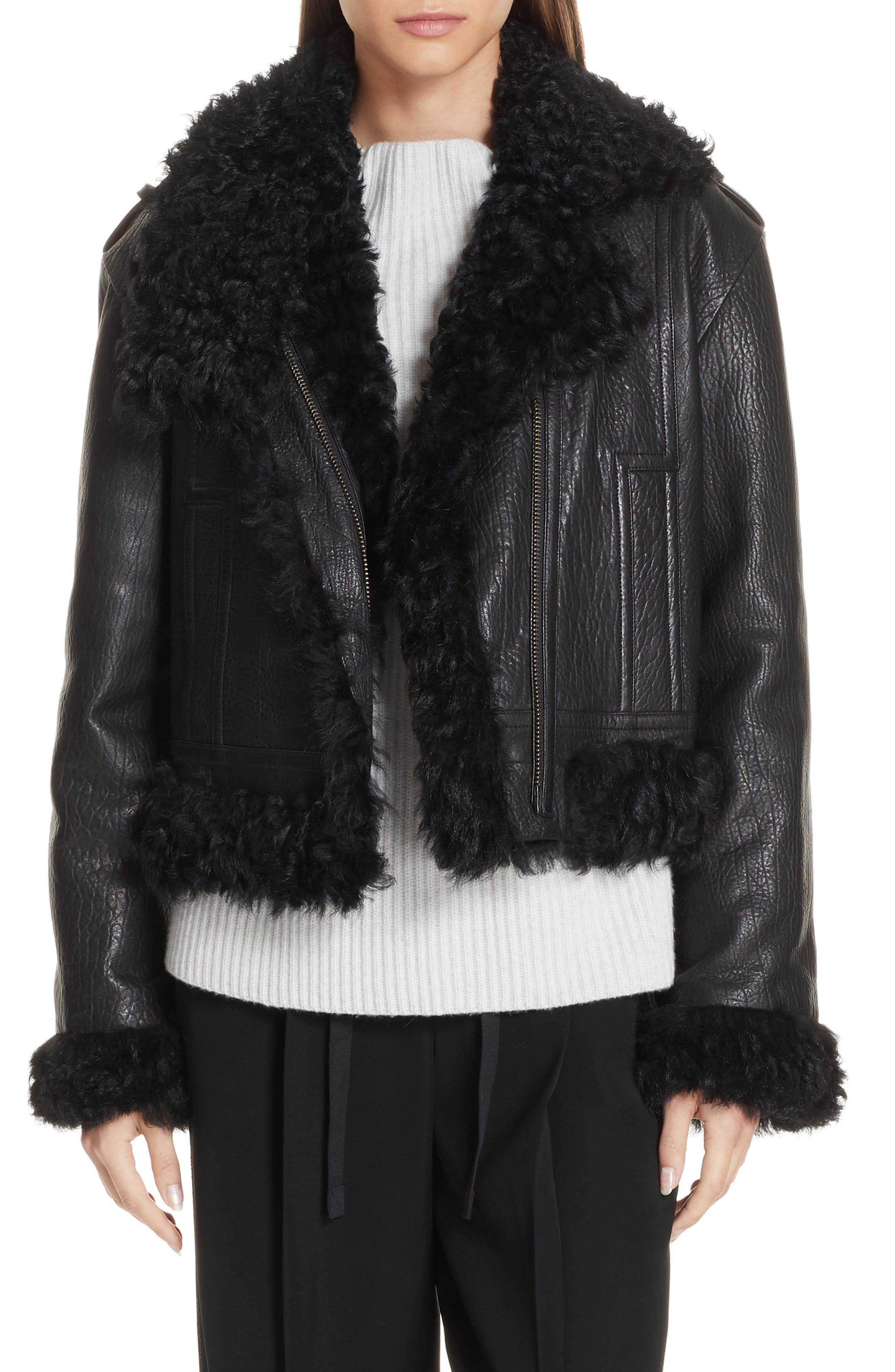 Leather & Genuine Shearling Moto Jacket,                         Main,                         color, BLACK
