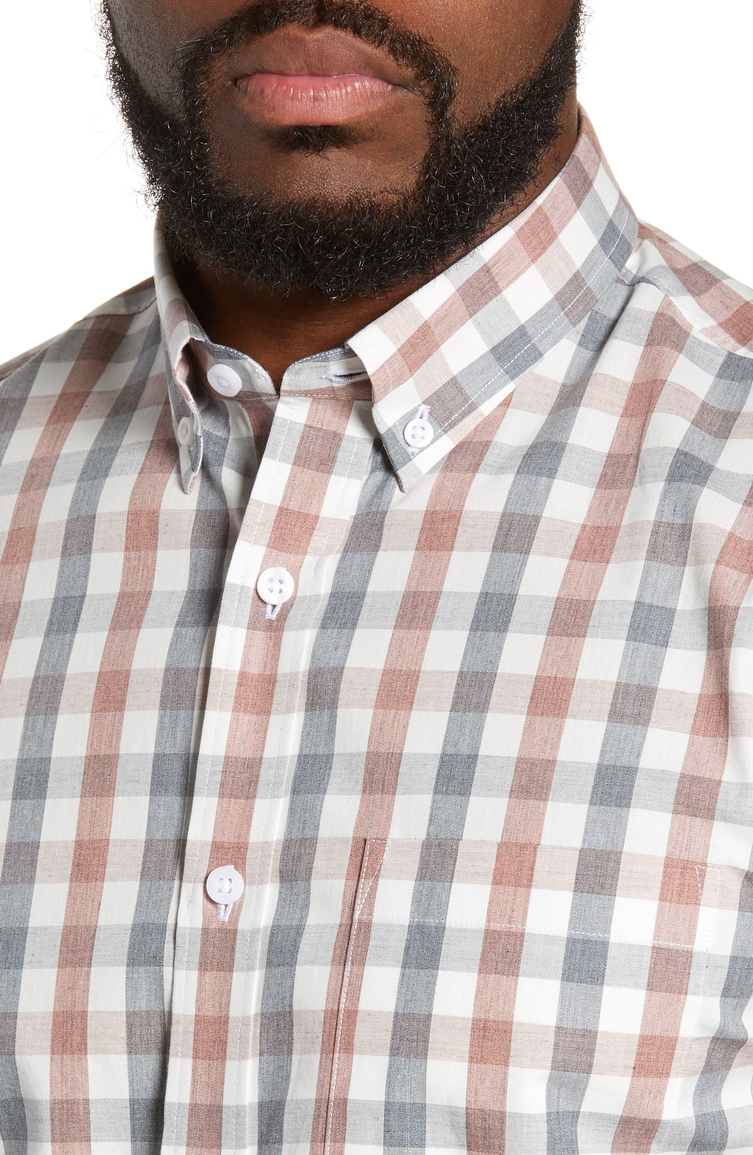 Check Sport Shirt,                             Alternate thumbnail 2, color,                             GREY RED WHITE MELANGE CHECK