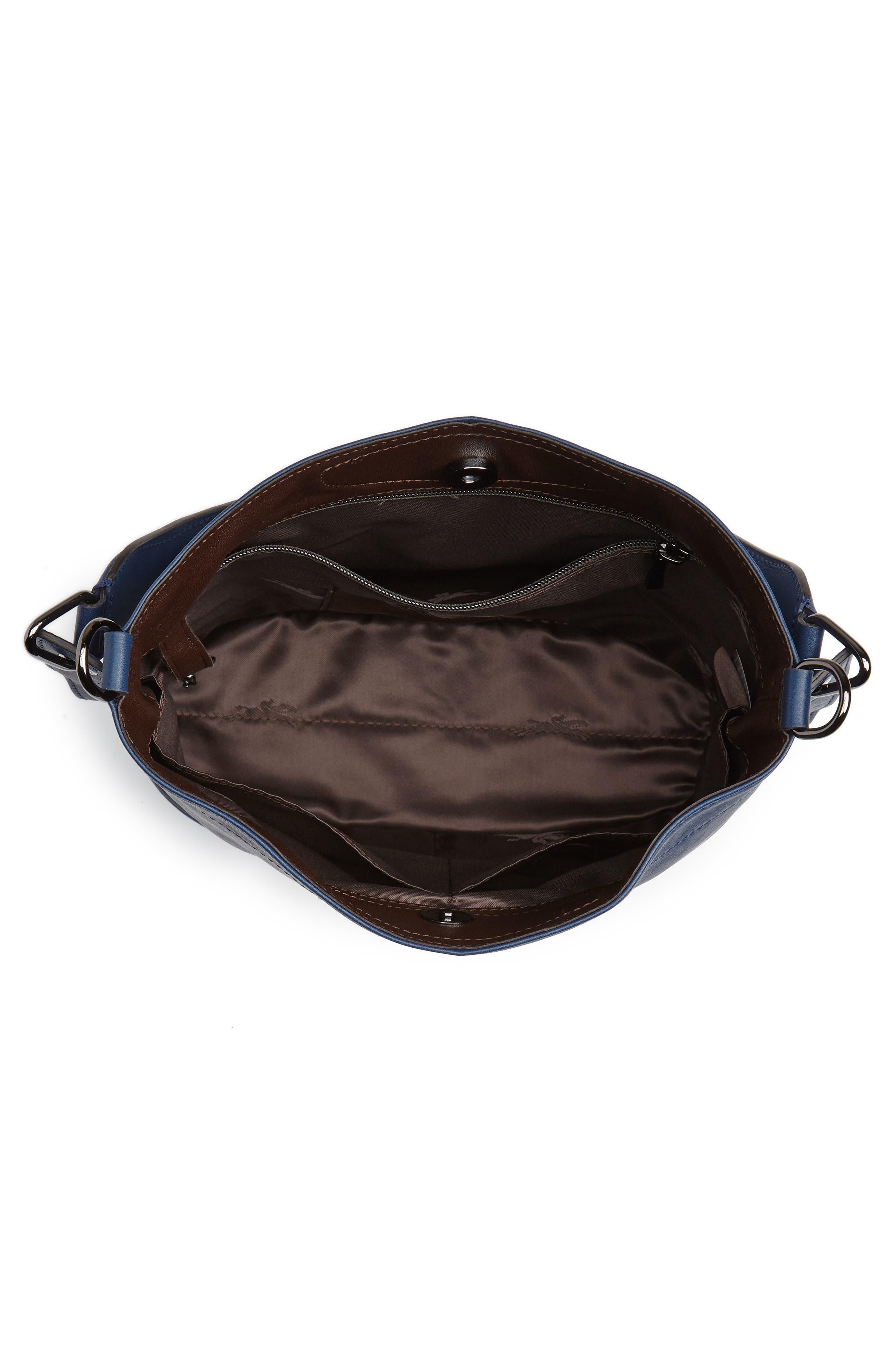 3D Leather Bucket Bag,                             Alternate thumbnail 4, color,                             PILOT BLUE