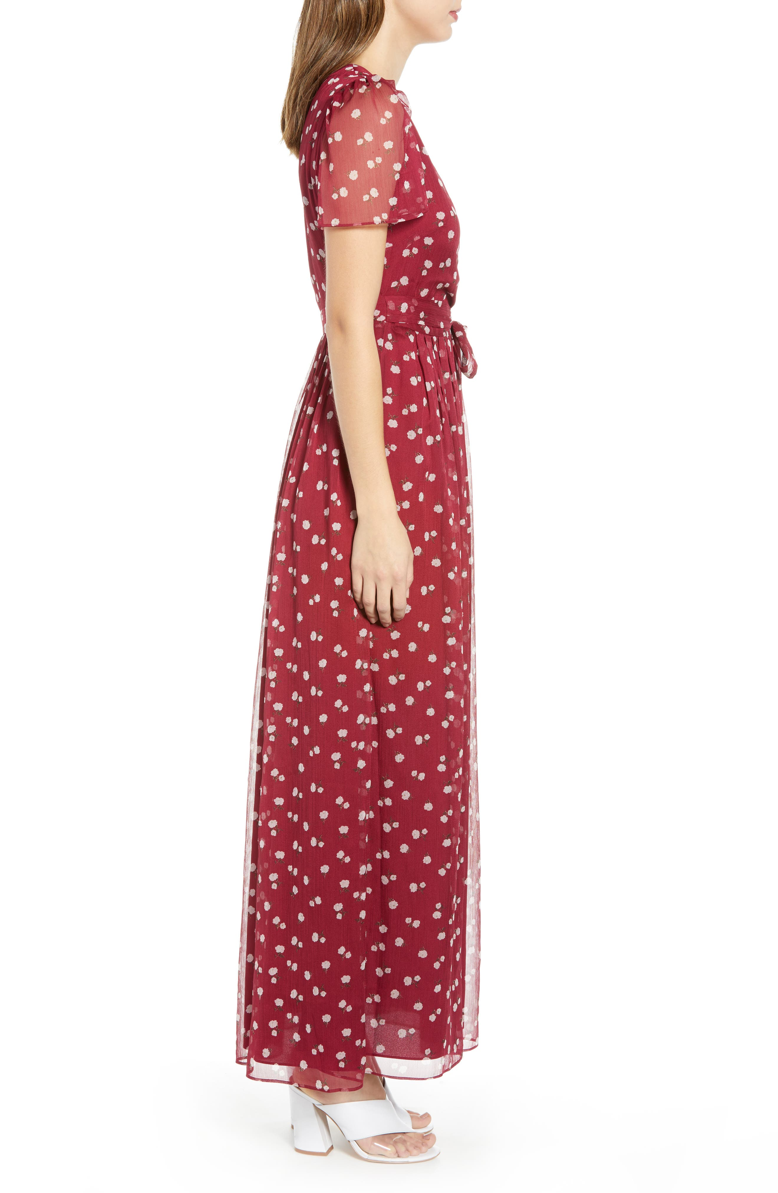 Rhoda Pleated Maxi Dress,                             Alternate thumbnail 3, color,                             BERRY MINI ROSES