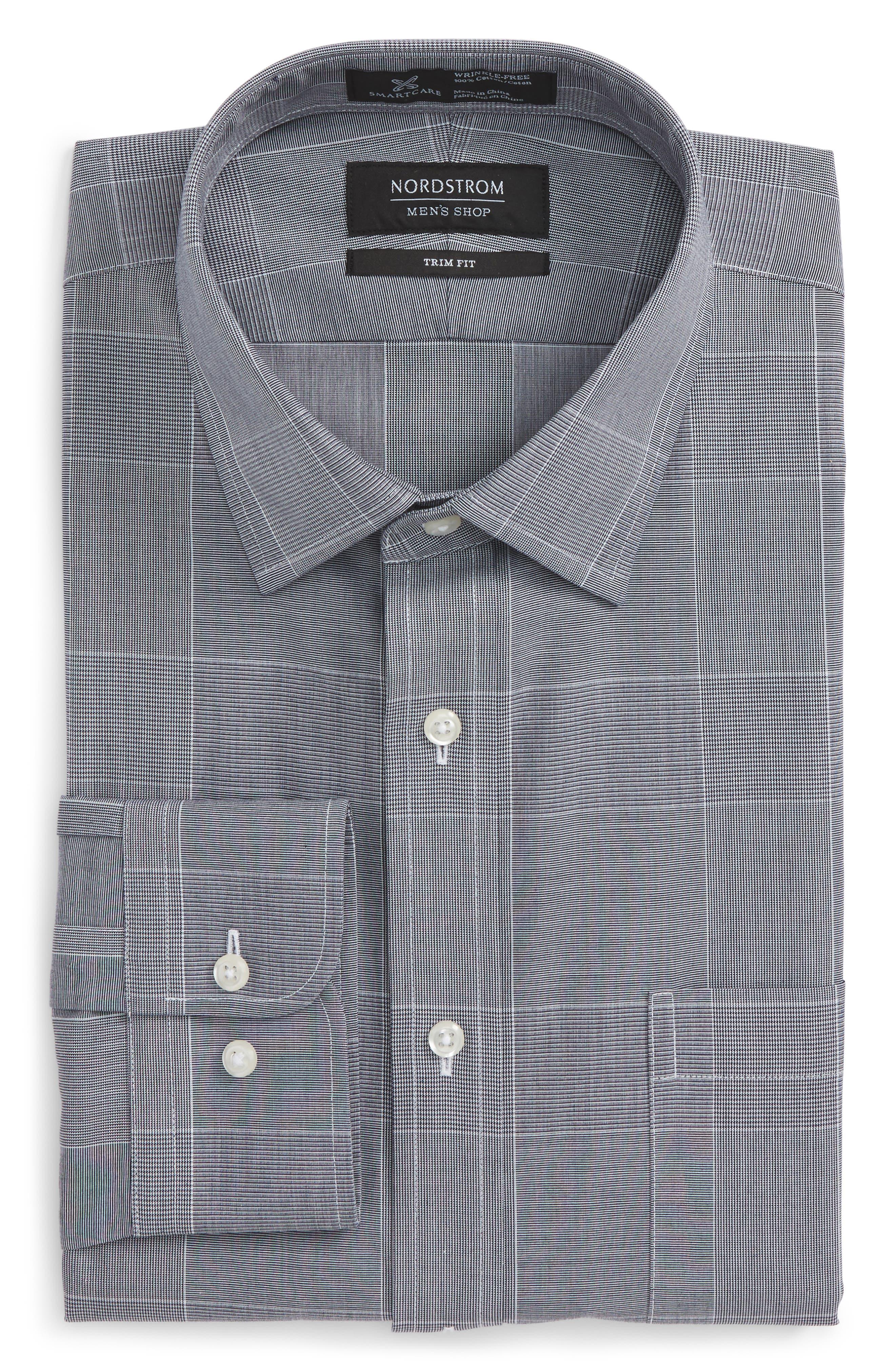 Smartcare<sup>™</sup> Trim Fit Plaid Dress Shirt,                             Alternate thumbnail 5, color,                             410