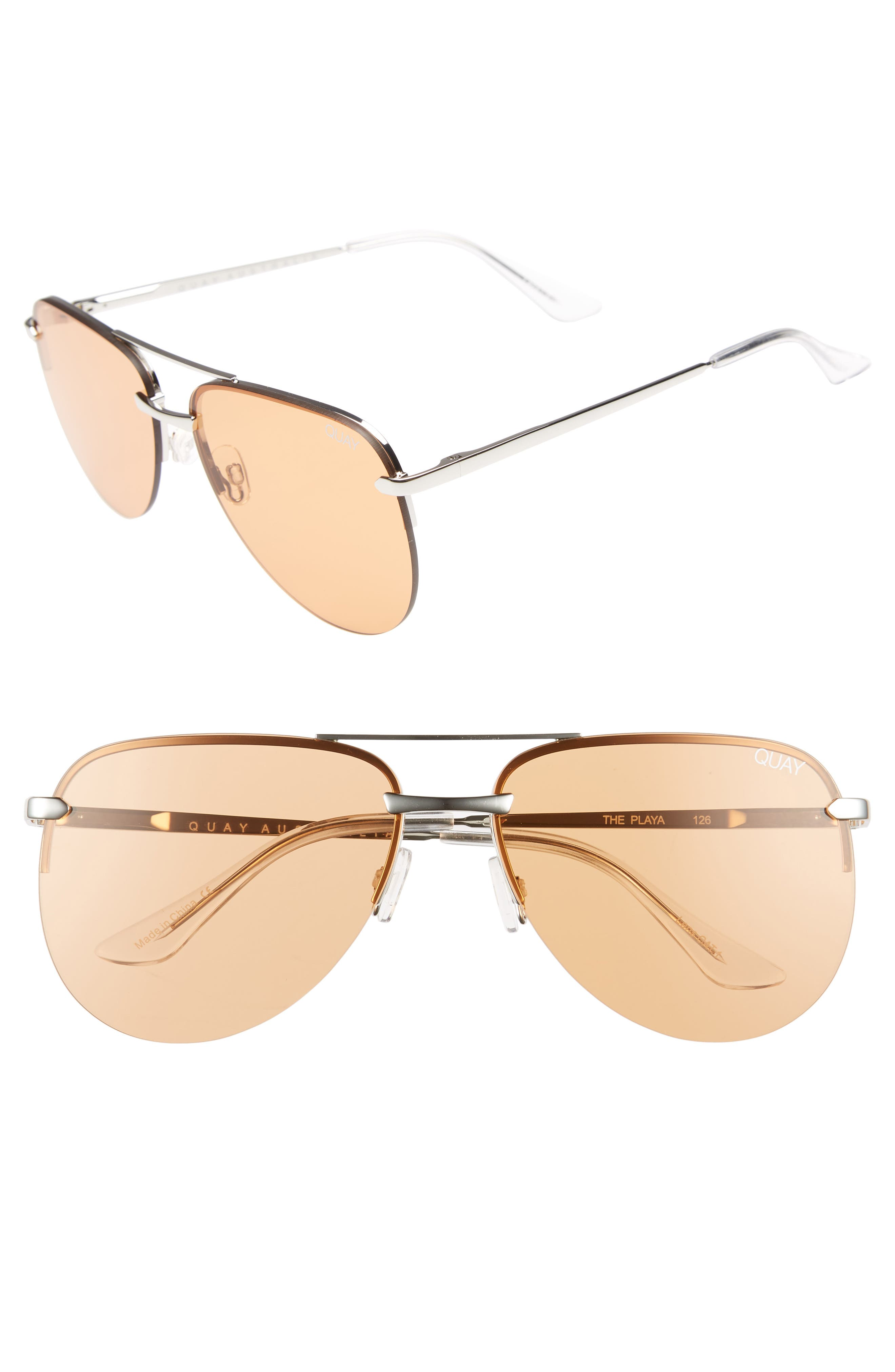 The Playa 64mm Aviator Sunglasses,                         Main,                         color, SILVER/ORANGE