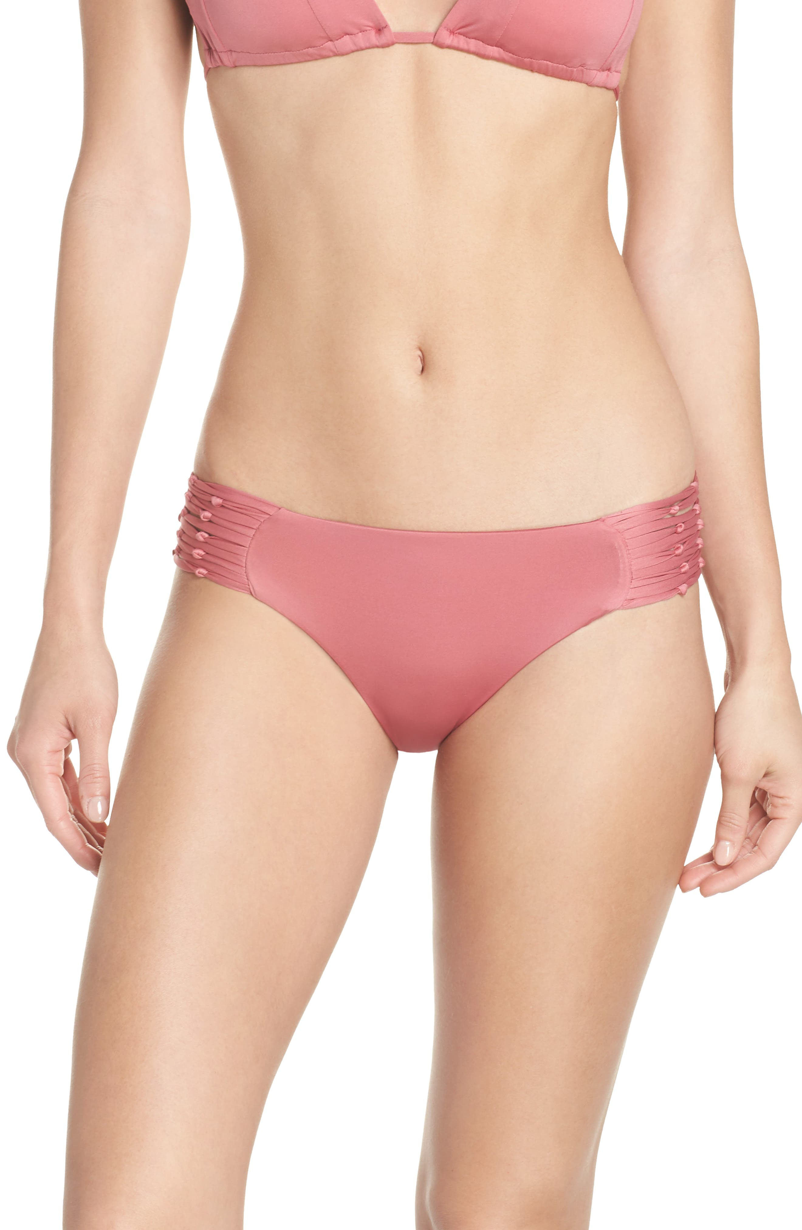 Why Knot Bikini Bottoms,                             Main thumbnail 1, color,                             DUSTY ROSE