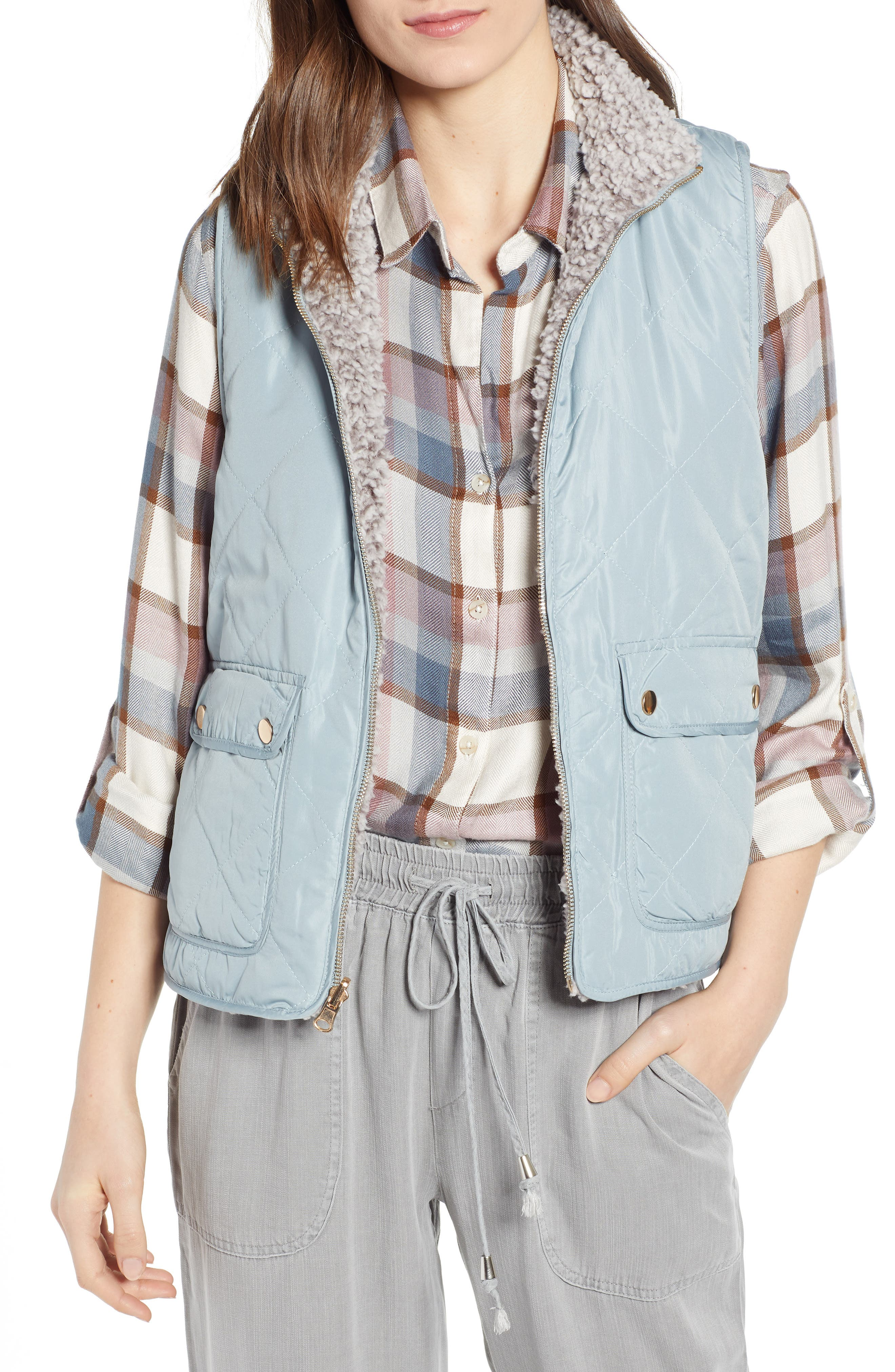 Reversible Fleece Lined Quilted Vest by Thread & Supply