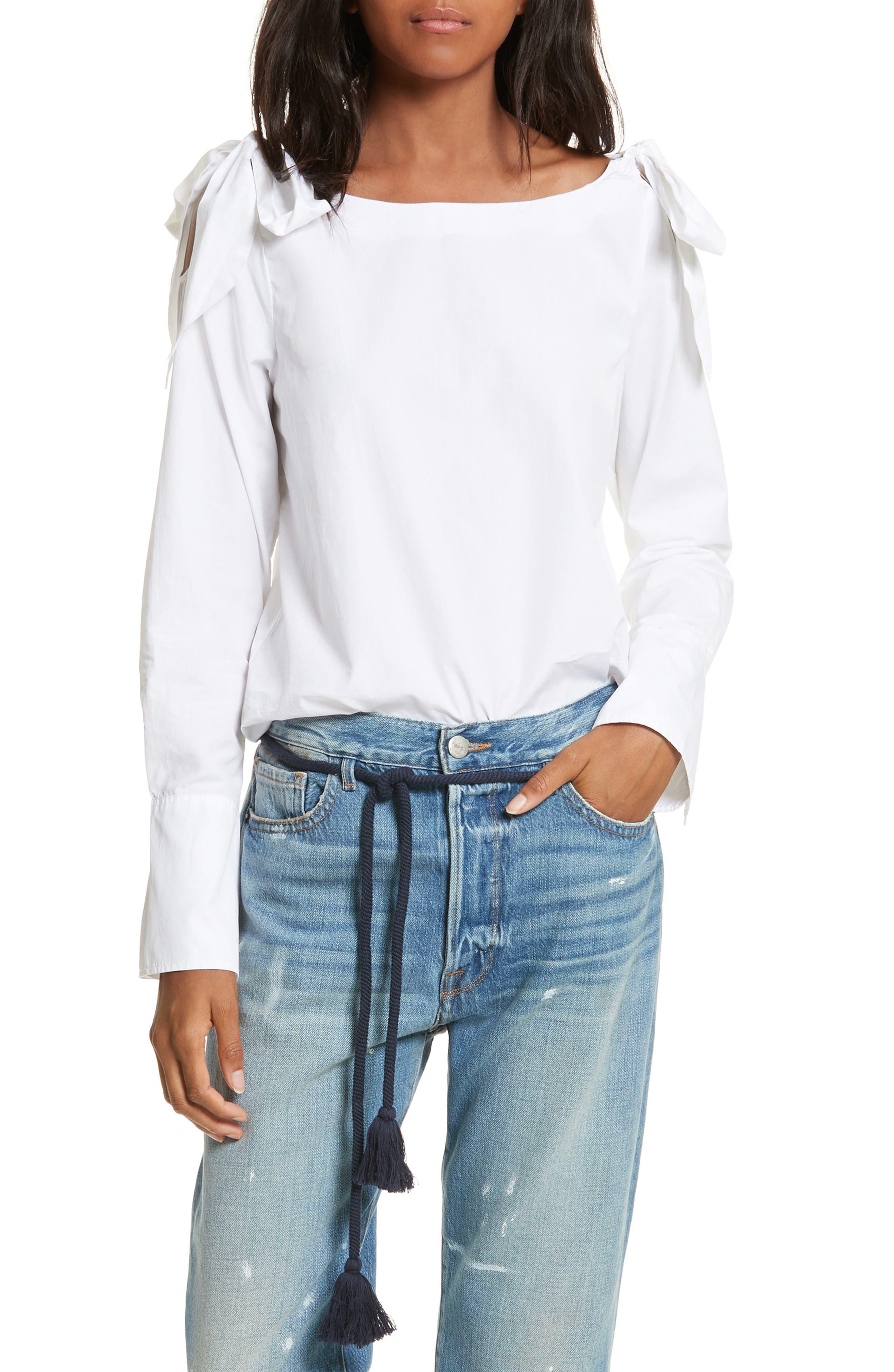Bow Cold Shoulder Cotton Blouse,                         Main,                         color, 199