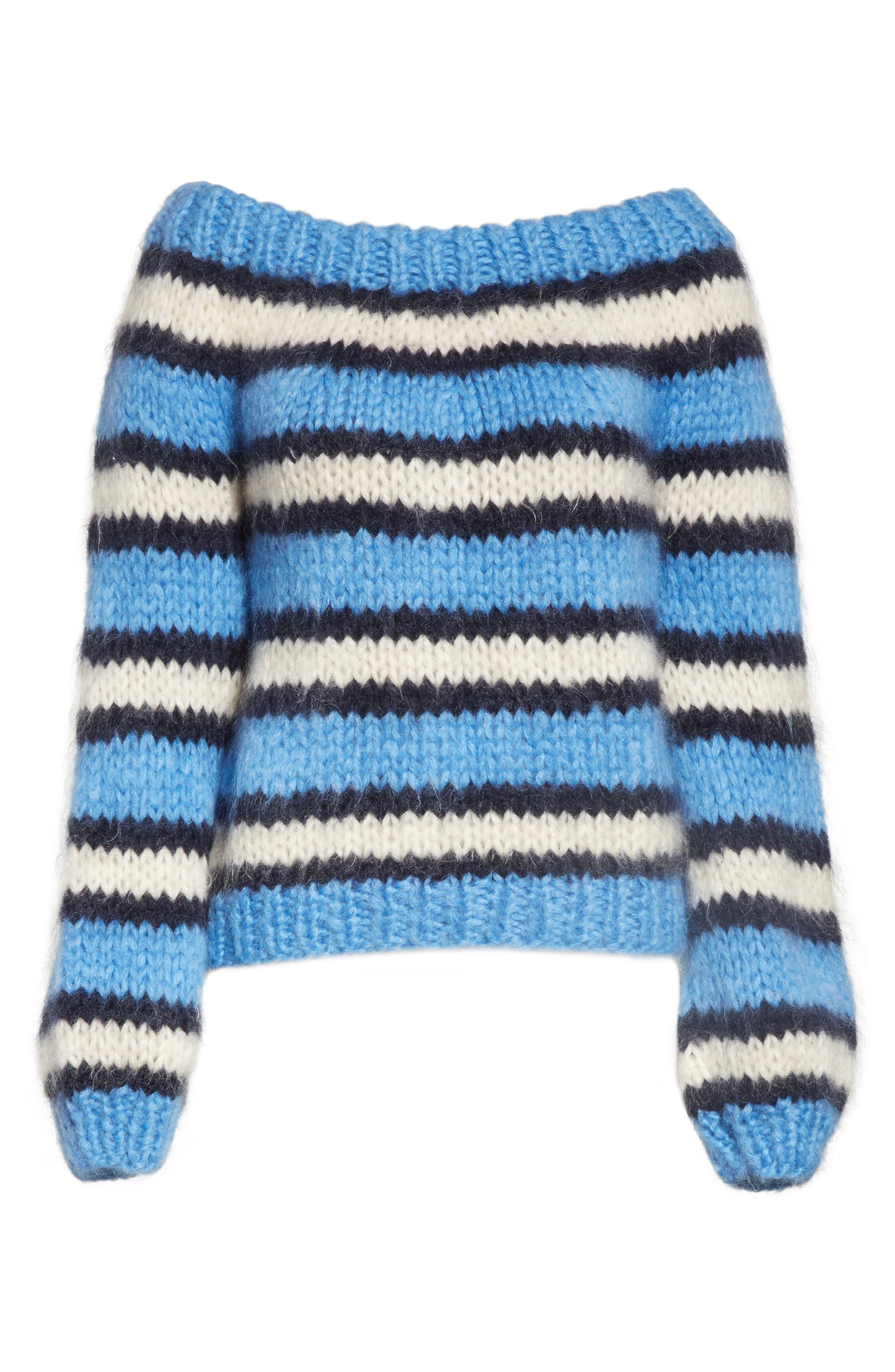 Juilliard Stripe Mohair & Wool Sweater,                             Alternate thumbnail 6, color,                             400