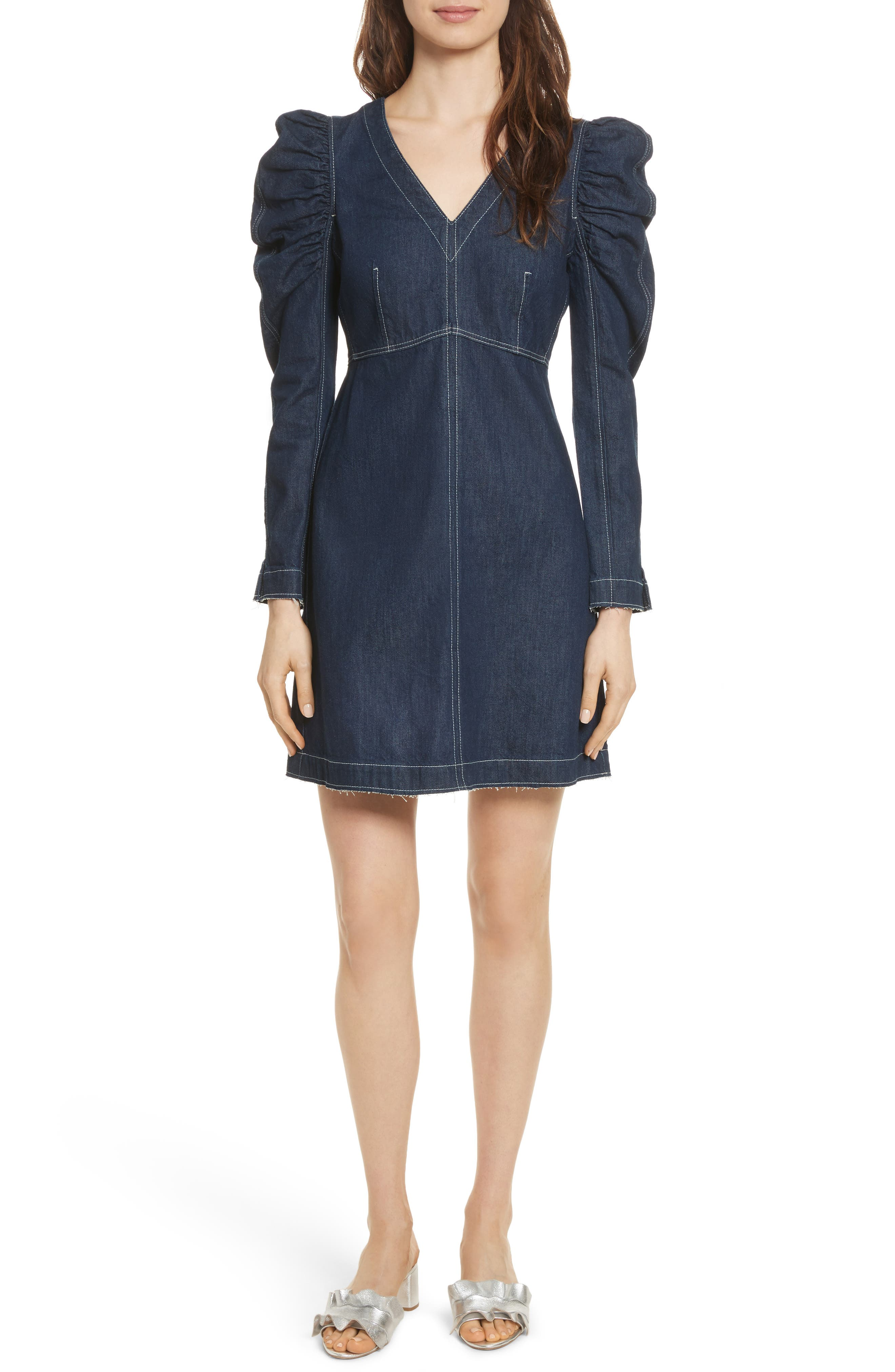 Ruched Sleeve Denim Dress,                             Main thumbnail 1, color,