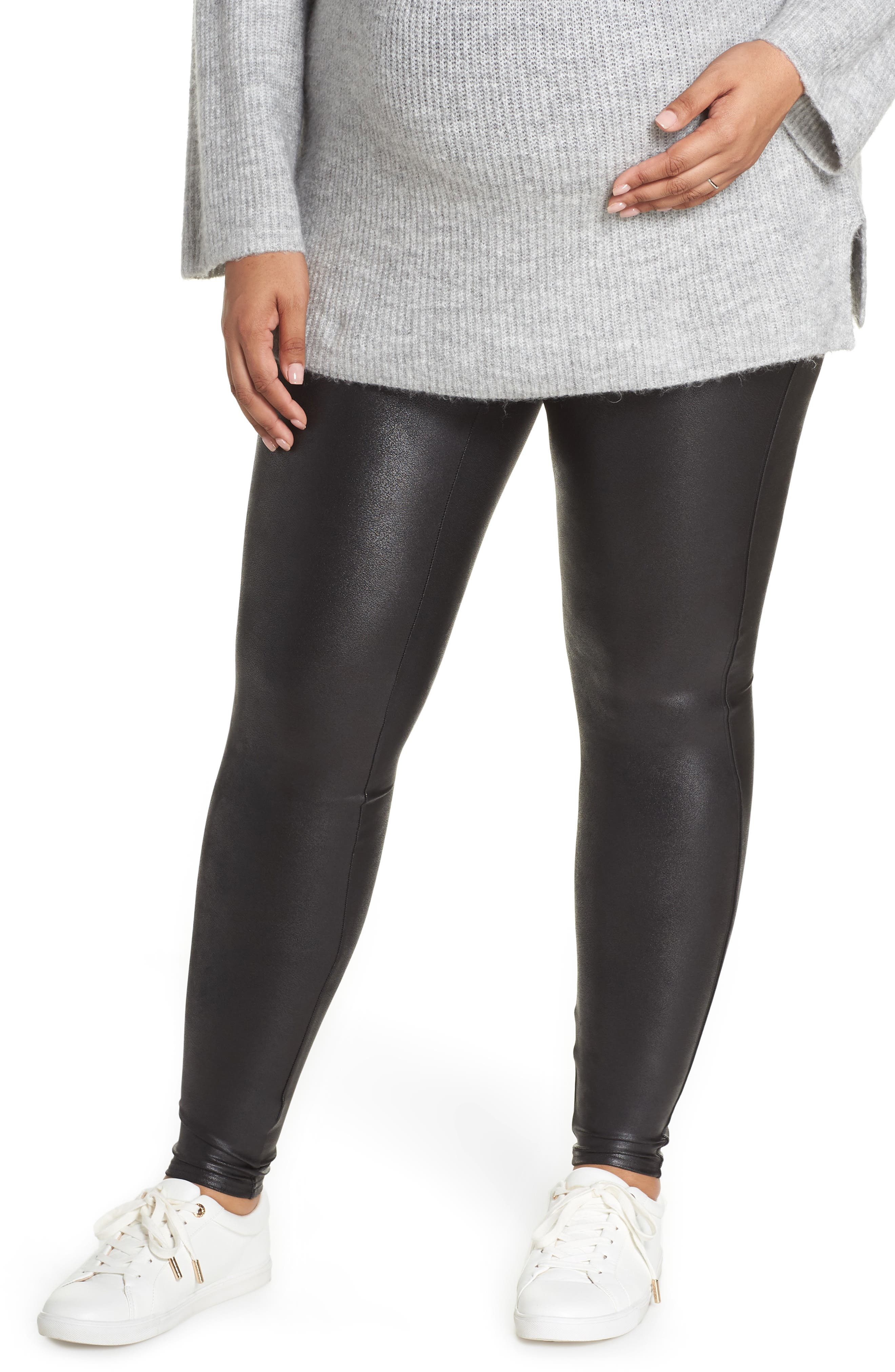Mama High Rise Faux Leather Maternity Leggings,                             Main thumbnail 1, color,                             VERY BLACK