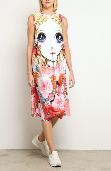 Manga Print Sleeveless Dress, video thumbnail