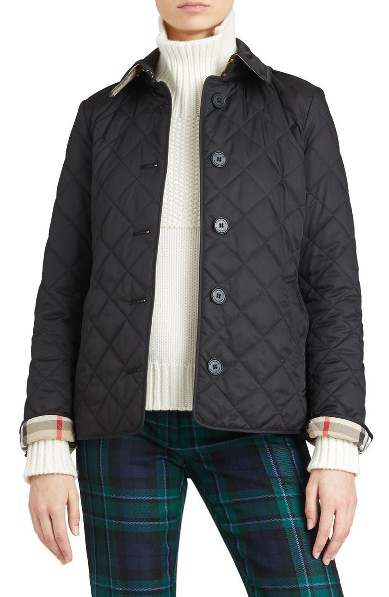 Frankby Quilted Jacket,                         Main,                         color, BLACK