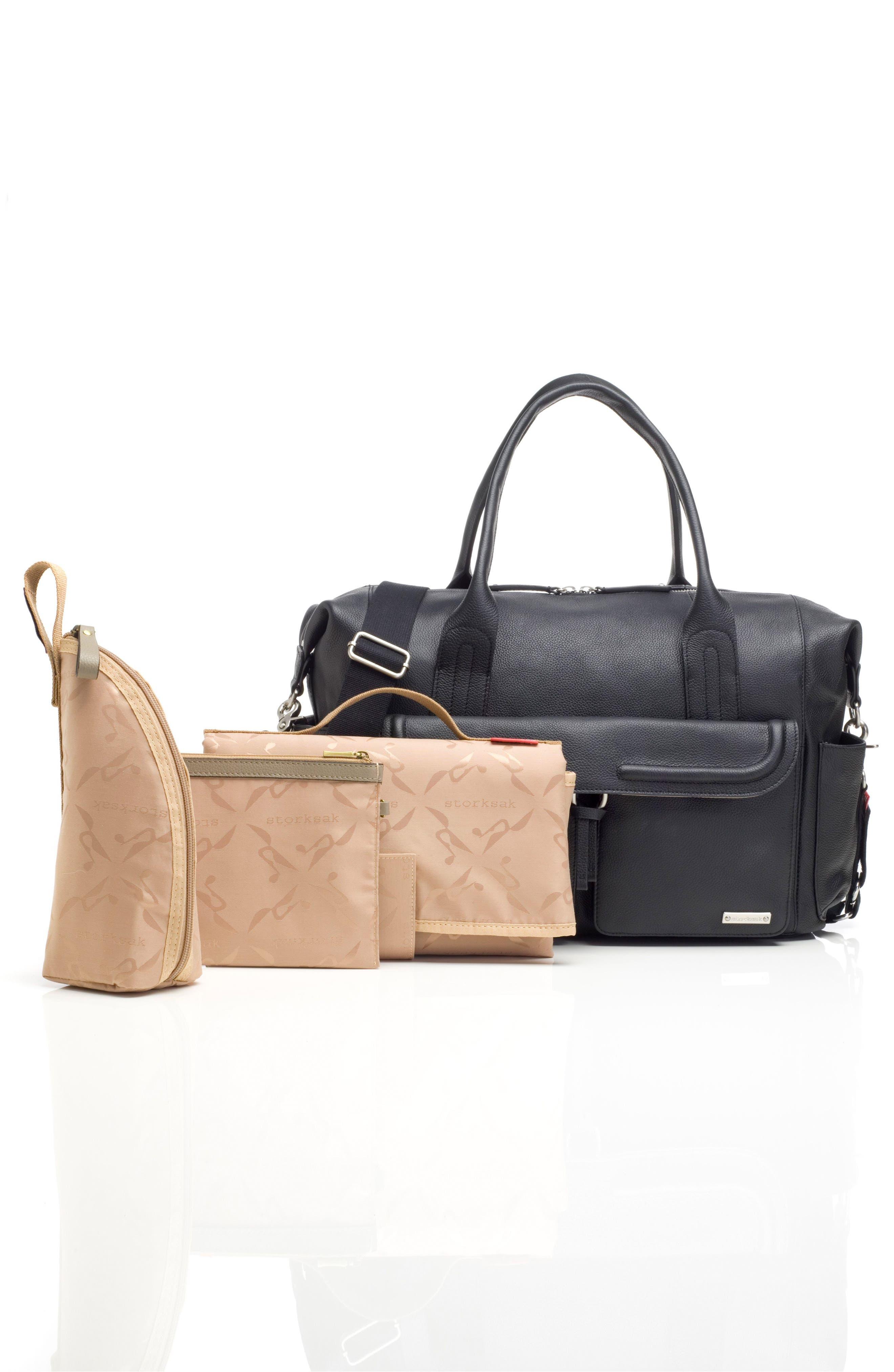 Storsak Leather Diaper Bag,                             Alternate thumbnail 2, color,                             BLACK