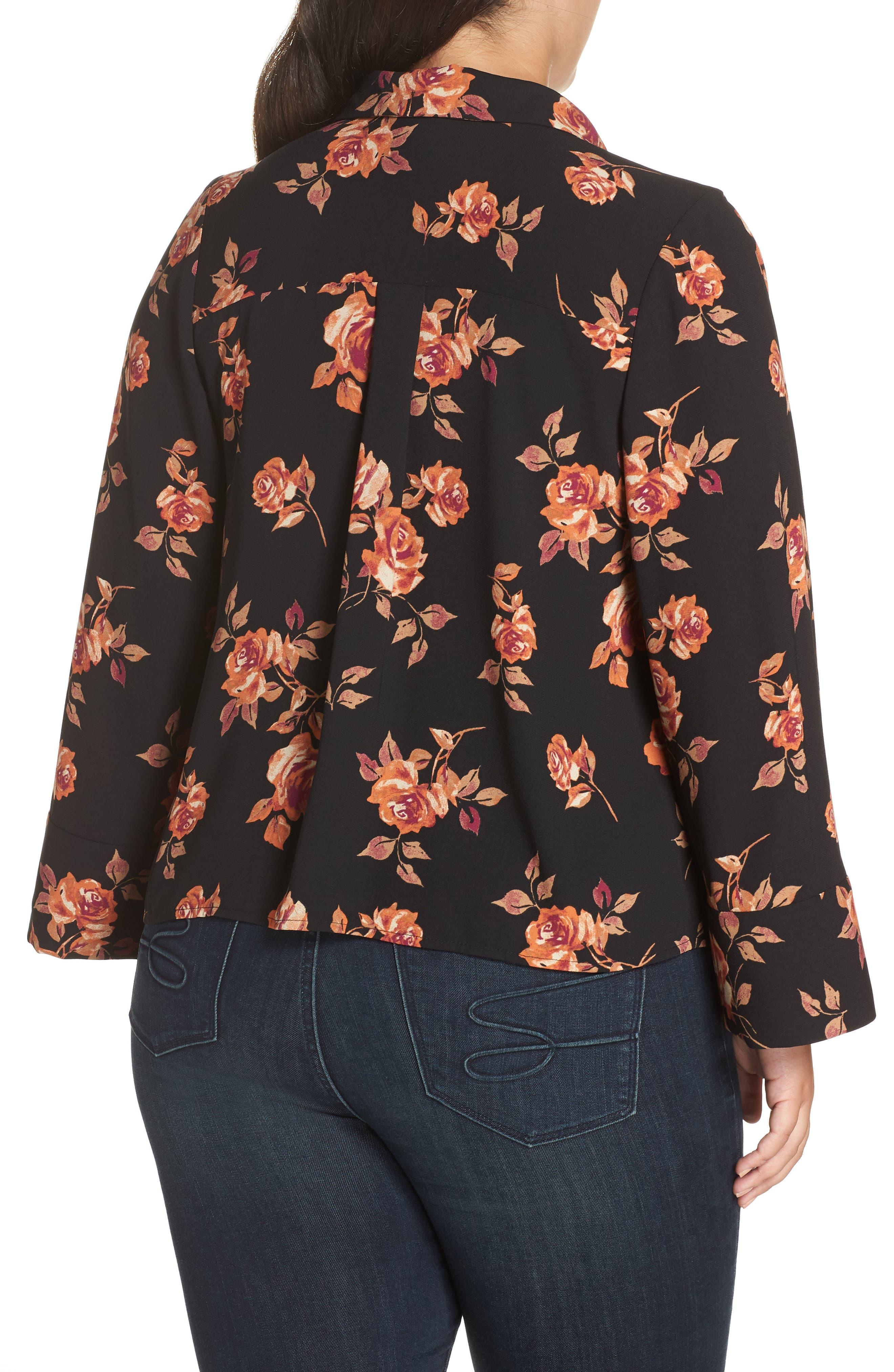 Notched Collar Floral Print Shirt,                             Alternate thumbnail 2, color,                             BLACK POP FLORAL