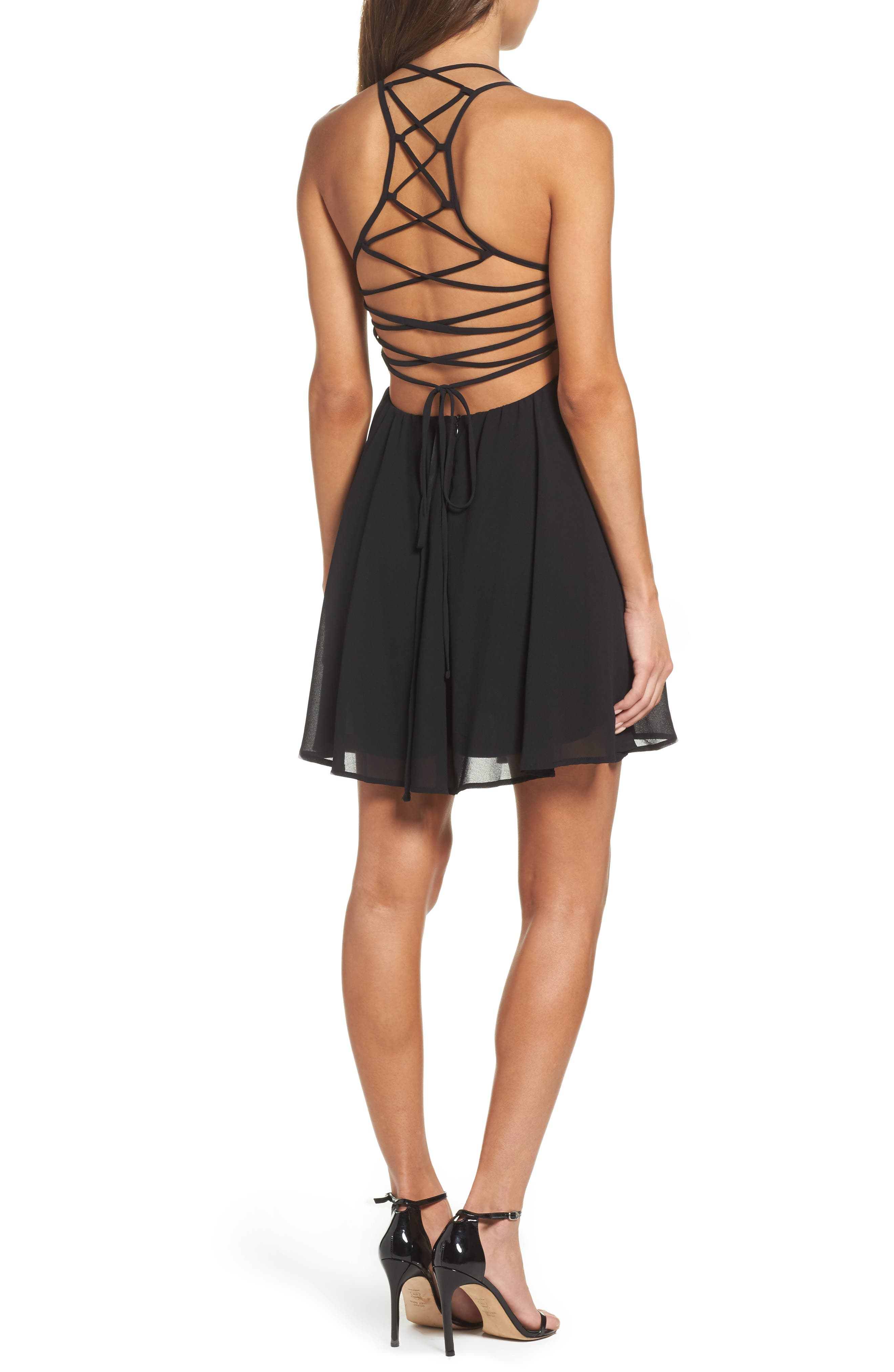 LULUS,                             Good Deeds Lace-Up Skater Dress,                             Alternate thumbnail 2, color,                             BLACK