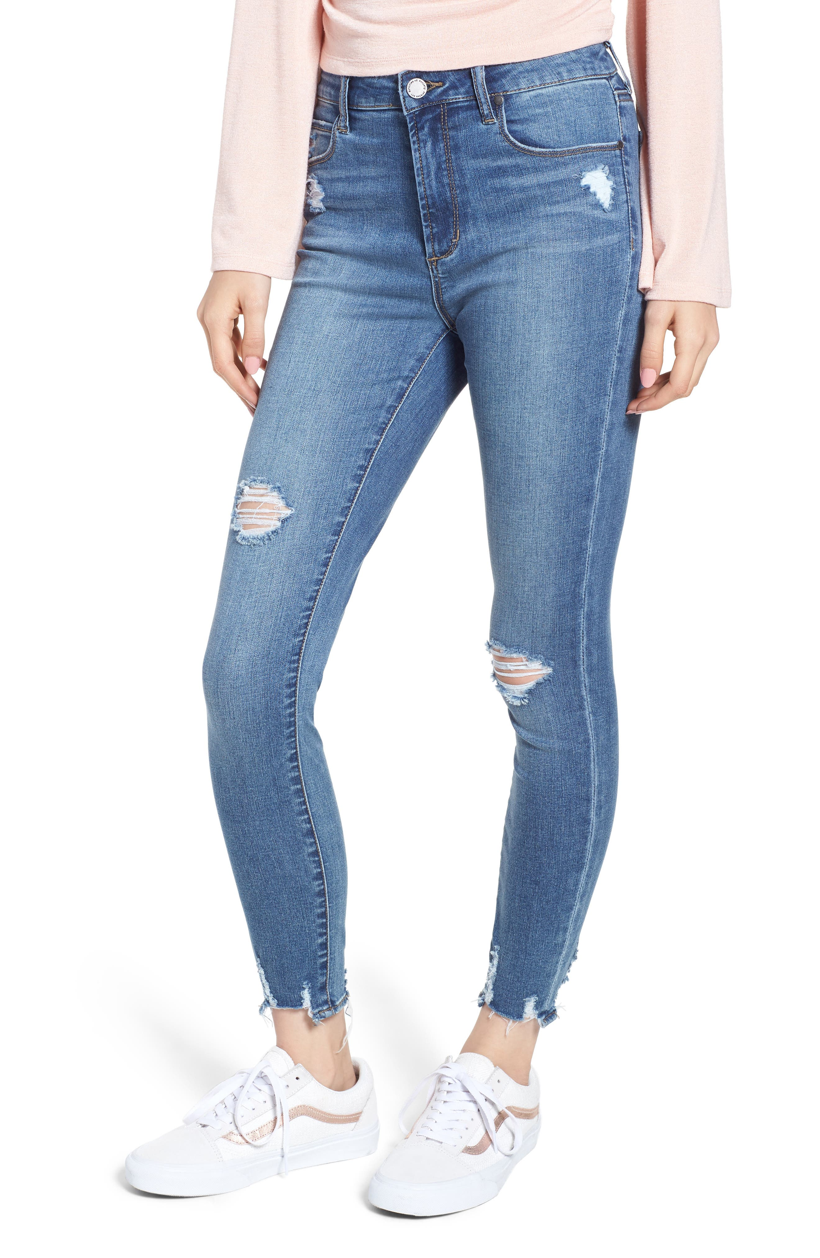Heather High Waist Distressed Skinny Jeans,                         Main,                         color, 453