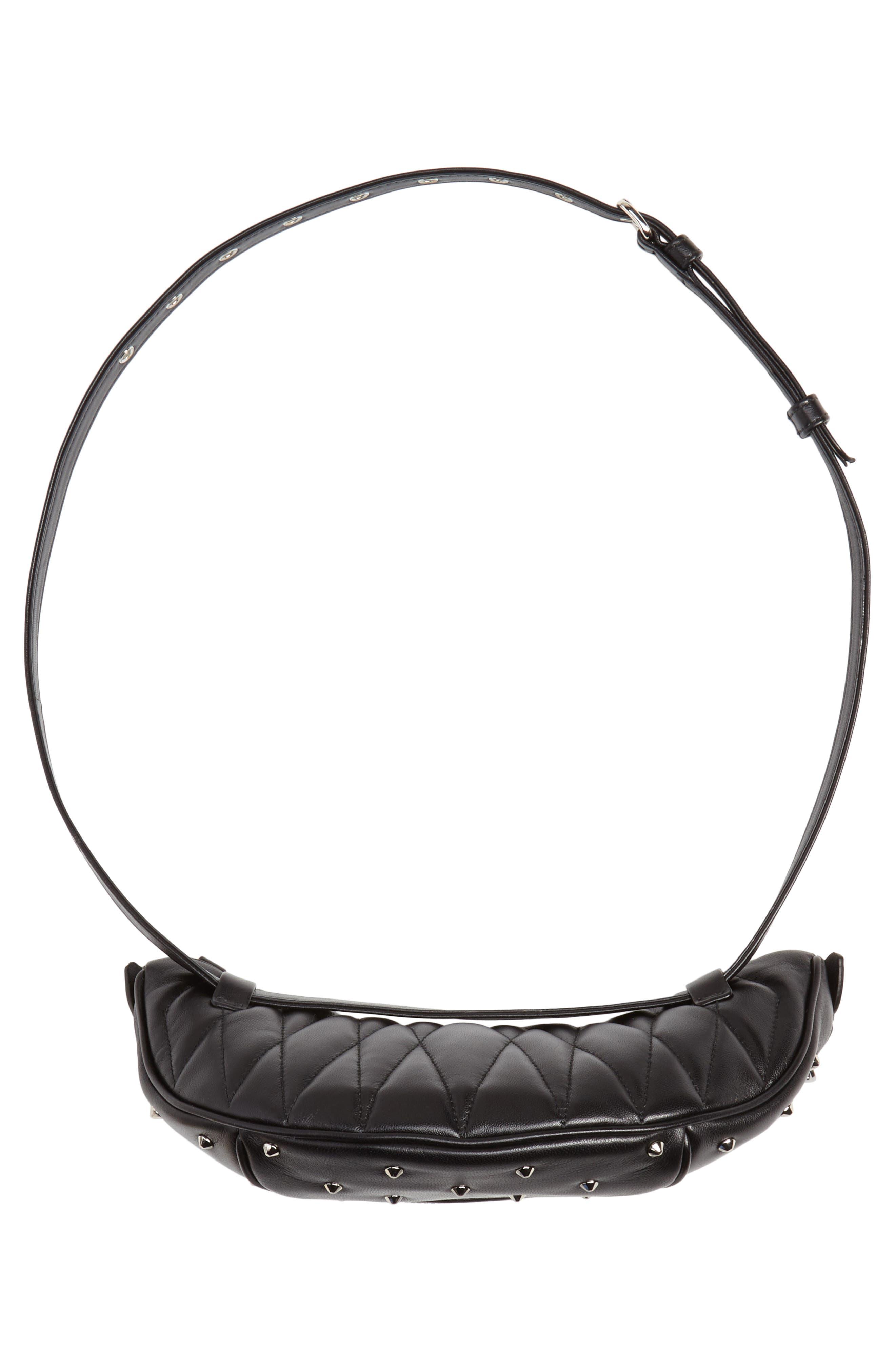 Studded Lambskin Leather Belt Bag,                             Alternate thumbnail 8, color,                             NERO