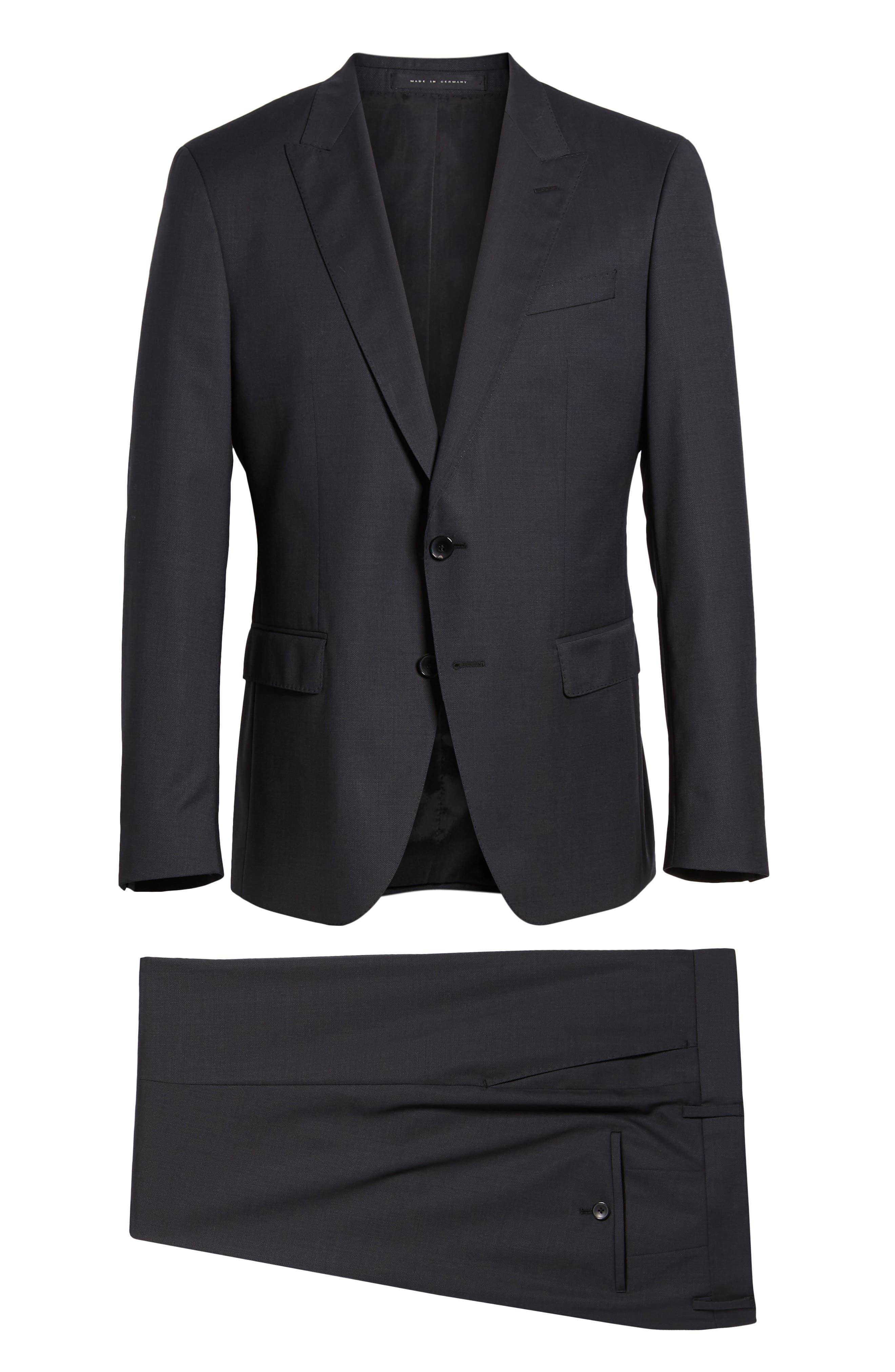 BOSS,                             Helward/Genius Trim Fit Solid Three Piece Wool Suit,                             Alternate thumbnail 9, color,                             DARK GREY