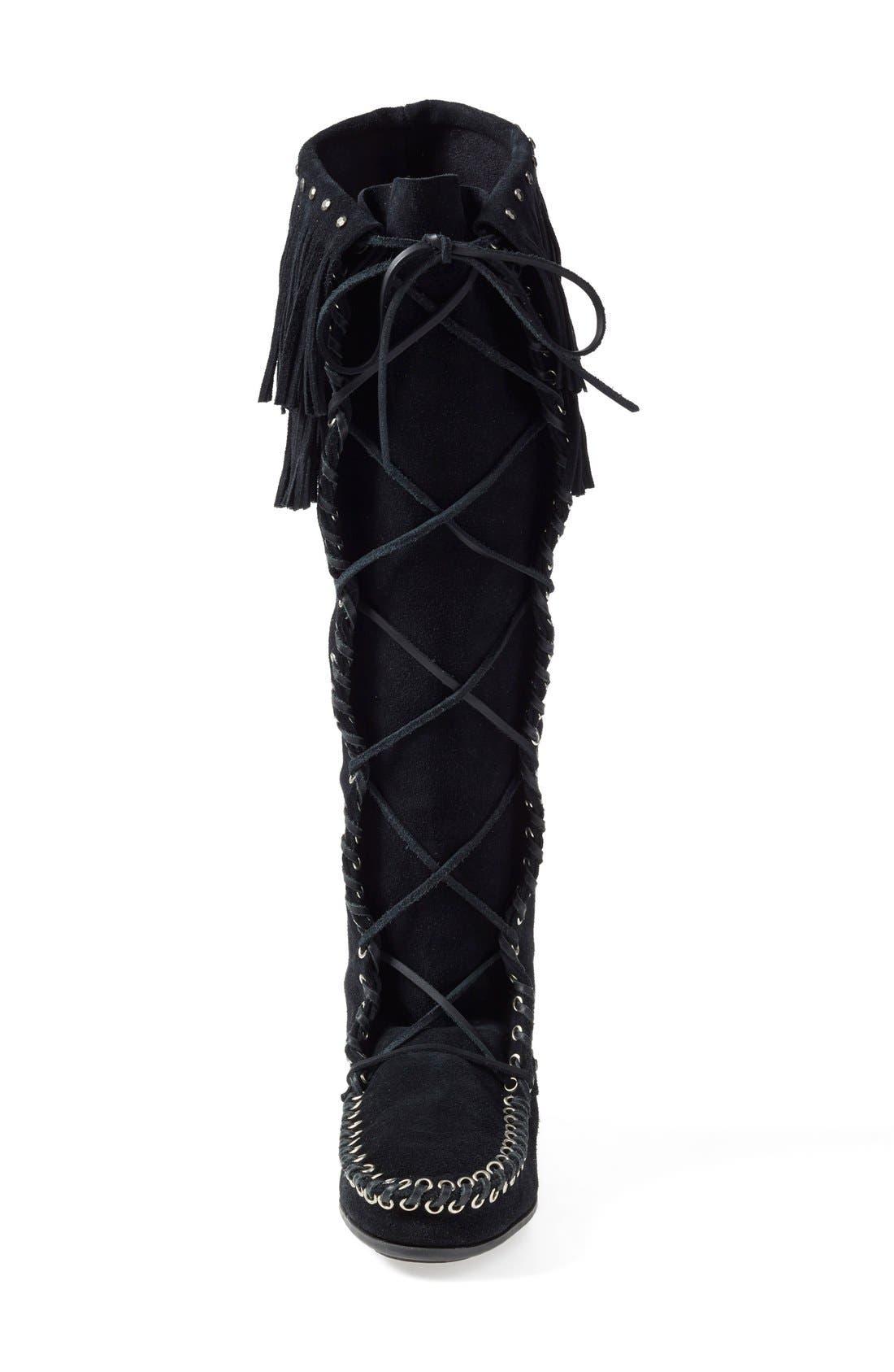 x Minnetonka Fringe Lace-Up Knee High Boot,                             Alternate thumbnail 4, color,                             001