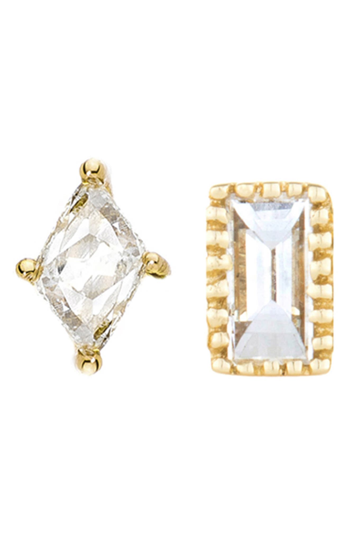 SETHI COUTURE Baguette Marquis Diamond Mismatched Stud Earrings in Yellow Gold/ Diamond