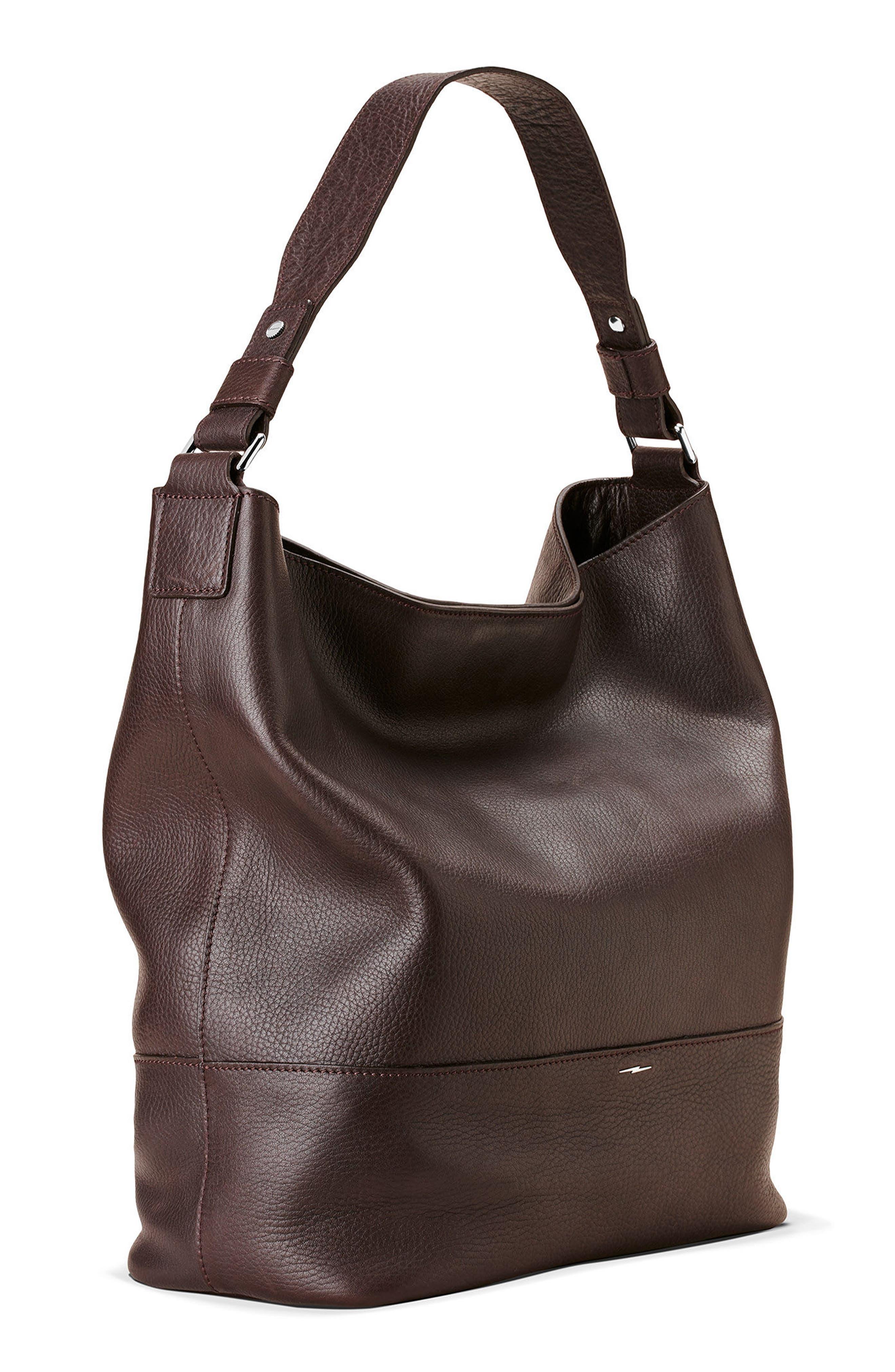Relaxed Calfskin Leather Hobo Bag,                             Alternate thumbnail 8, color,                             240