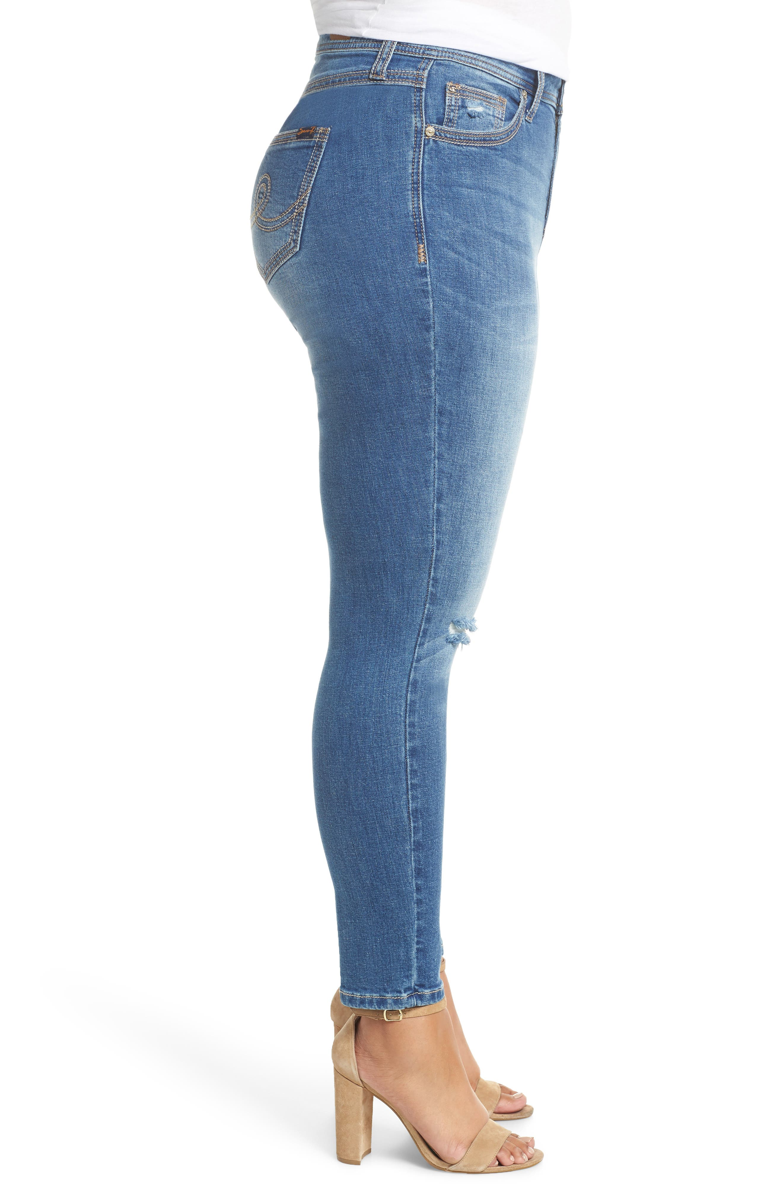 Rocker Skinny Jeans,                             Alternate thumbnail 3, color,                             LADYBIRD