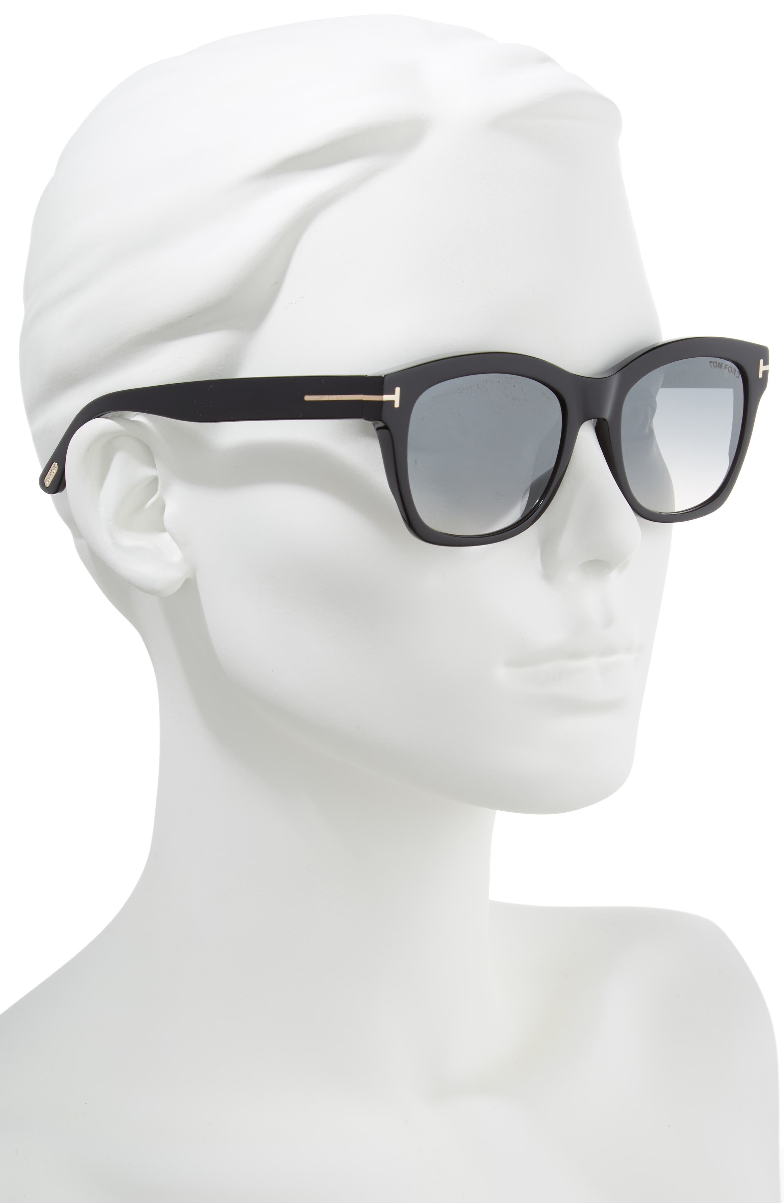 Lauren 52mm Sunglasses,                             Alternate thumbnail 2, color,                             SHINY BLACK/ SMOKE MIRROR
